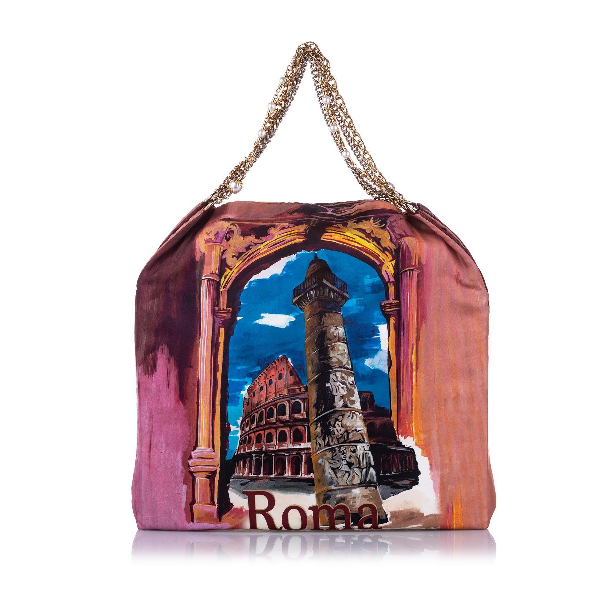 Vintage Dolce&Gabbana Anita Roma Printed Silk Tote Bag Multi