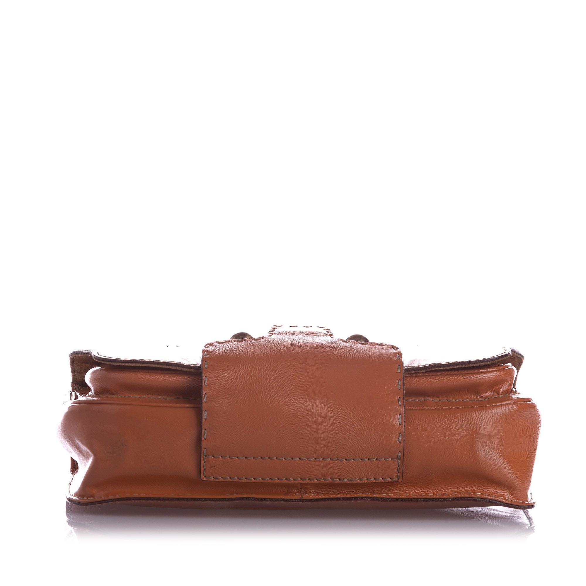 Vintage Fendi Leather Satchel Brown