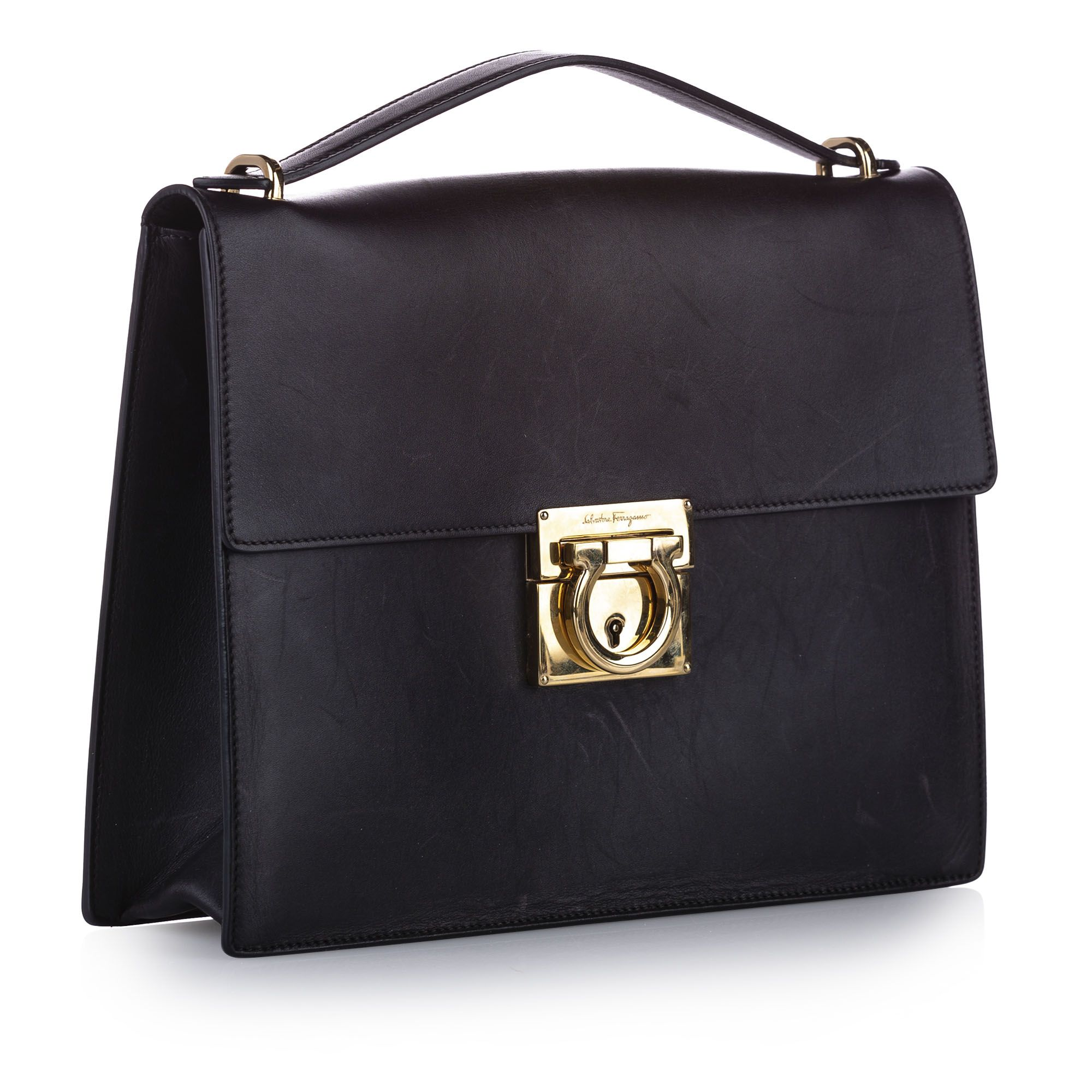 Vintage Ferragamo Gancini Leather Satchel Black