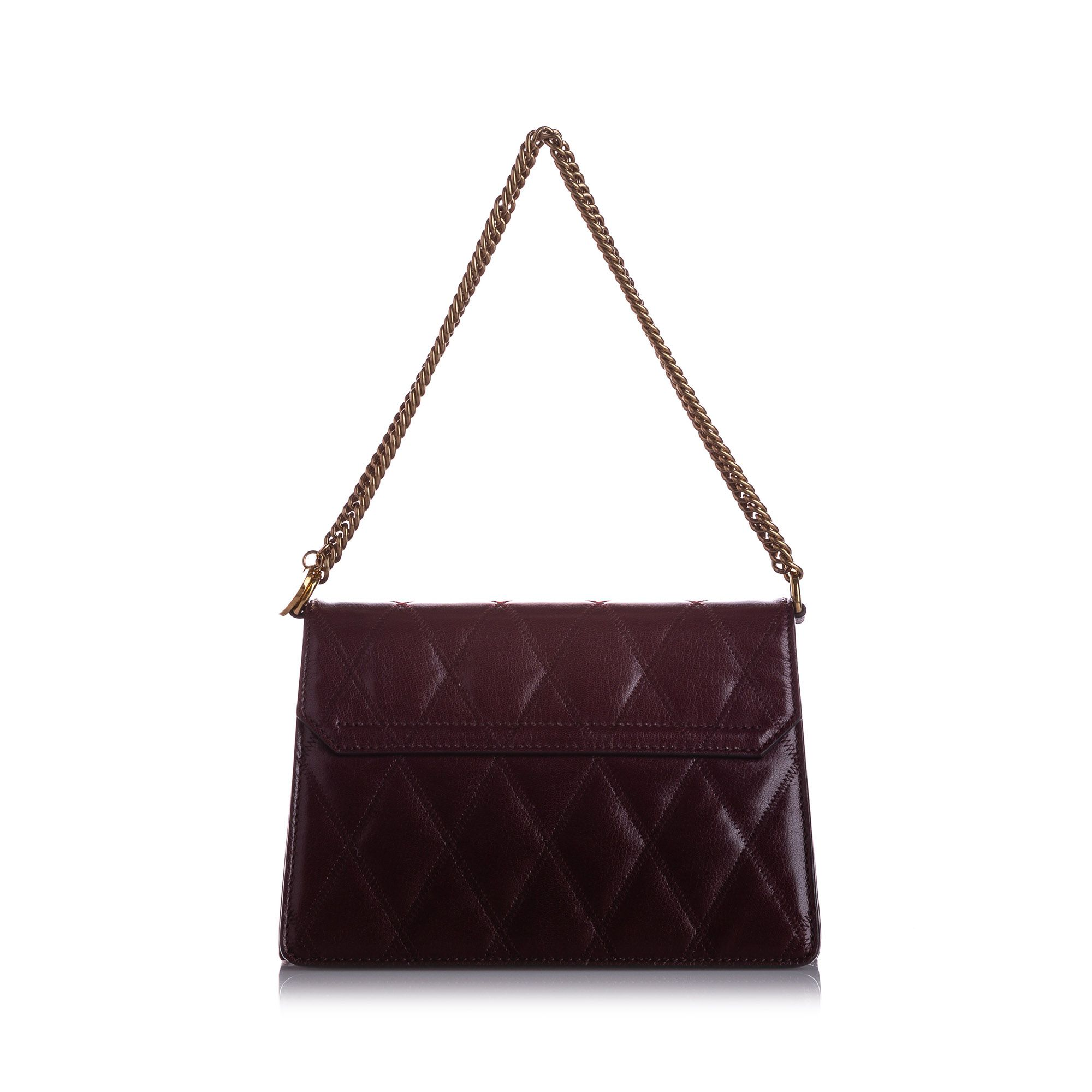 Vintage Givenchy Small GV3 Quilted Leather Shoulder Bag Red