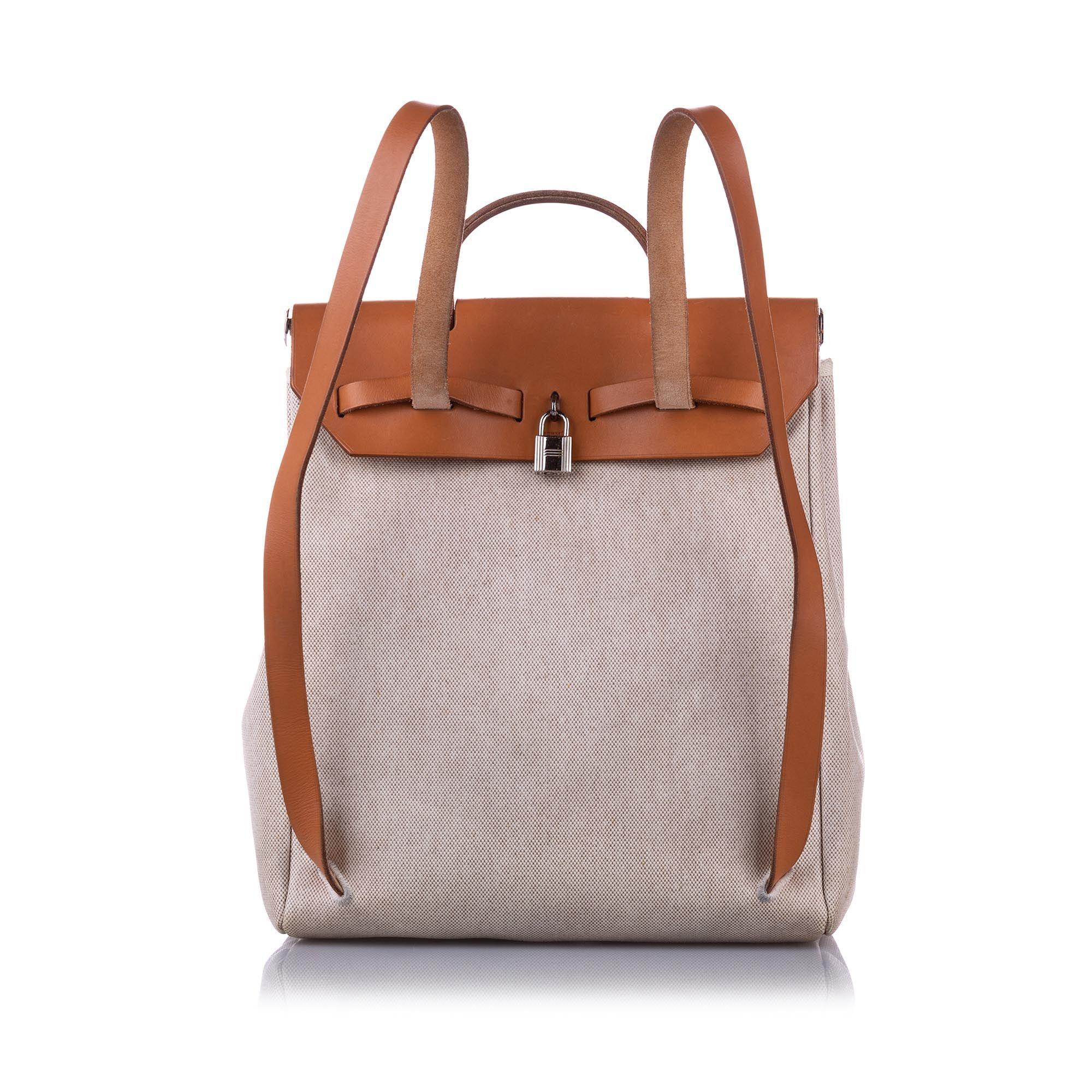 Vintage Hermes Herbag Canvas Backpack Brown