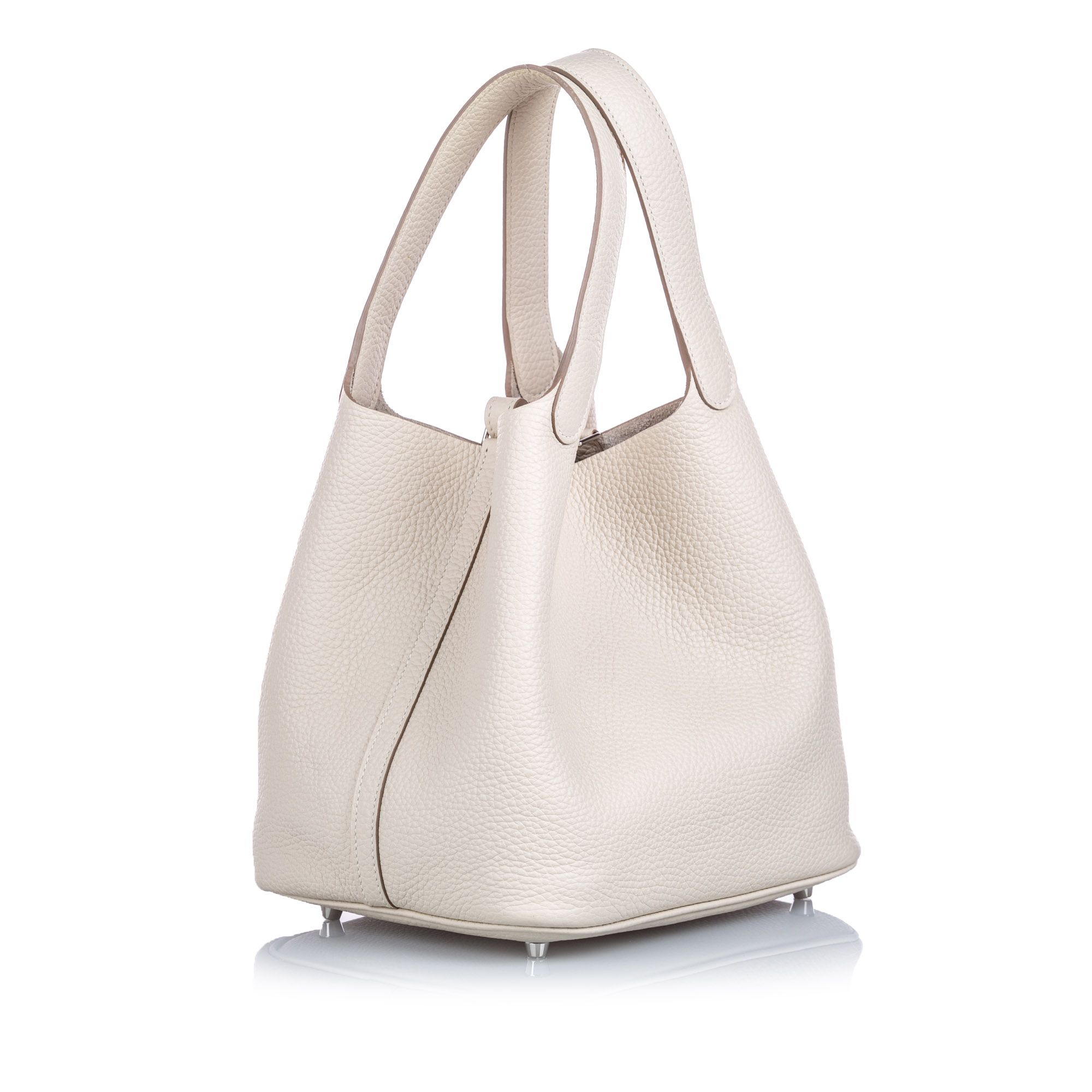 Vintage Hermes Clemence Picotin 22 White