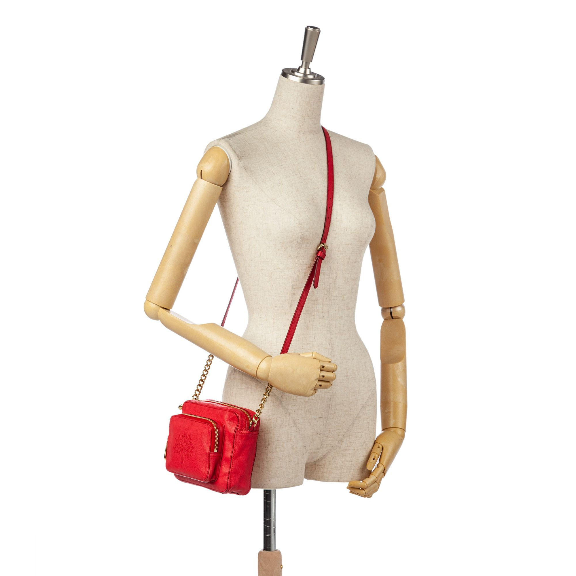 Vintage Mulberry Leather Crossbody Bag Red