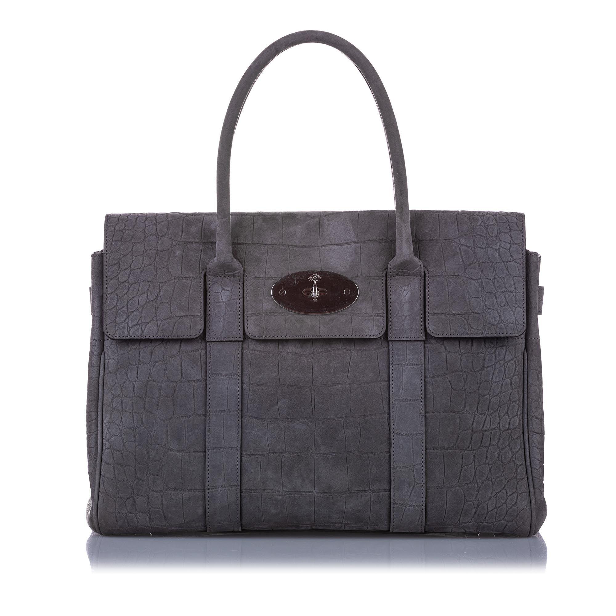 Vintage Mulberry Embossed Bayswater Suede Handbag Gray