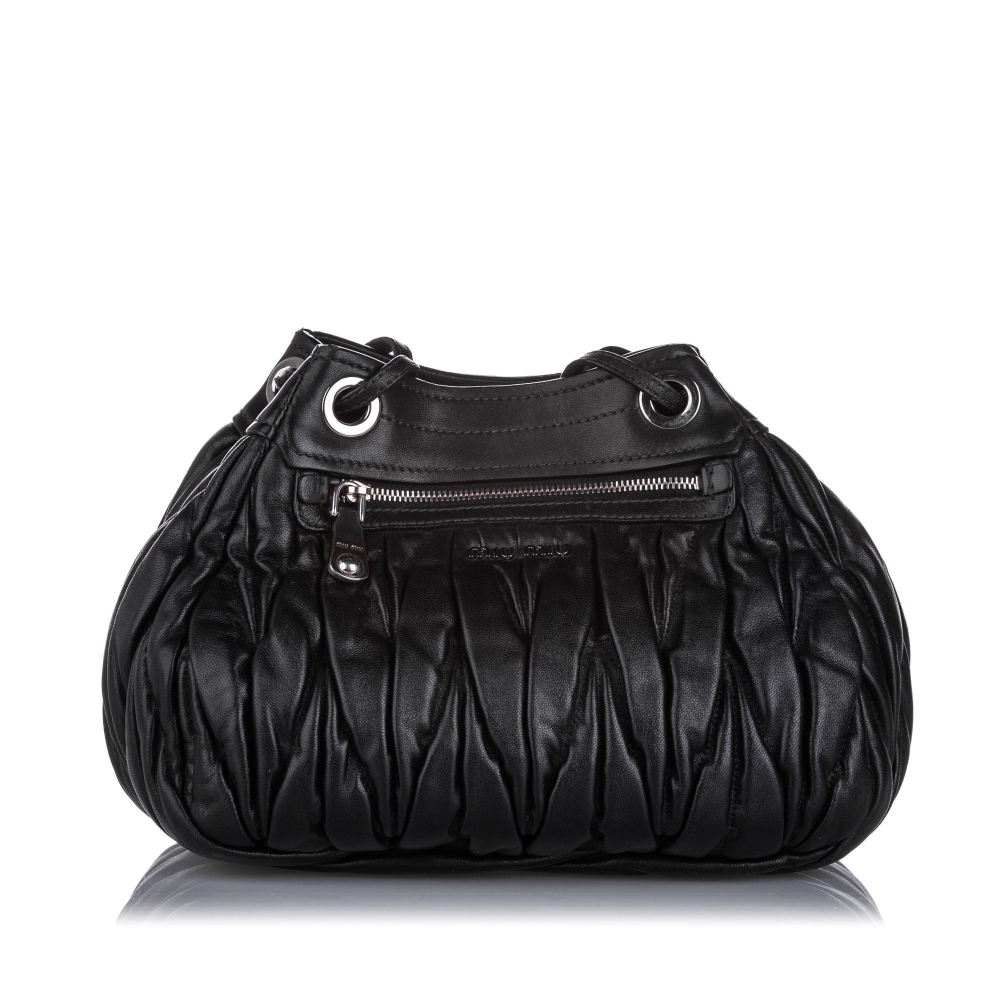 Vintage Miu Miu Matelasse Leather Crossbody Bag Black