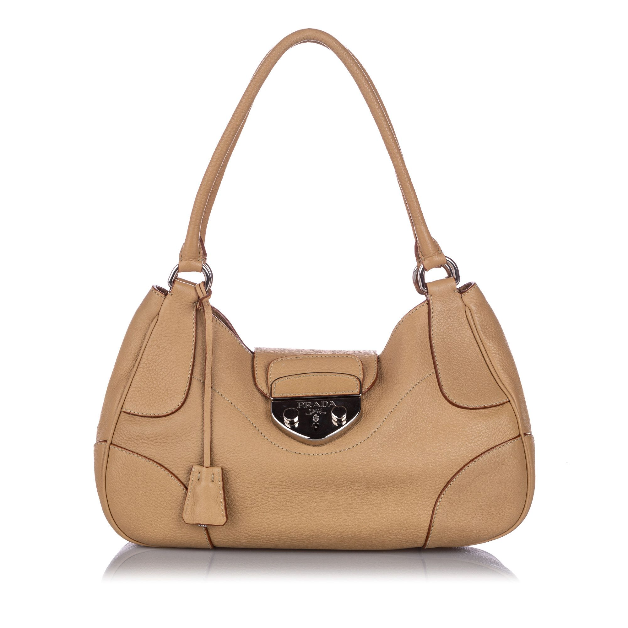 Vintage Prada Vitello Daino Shoulder Bag Brown