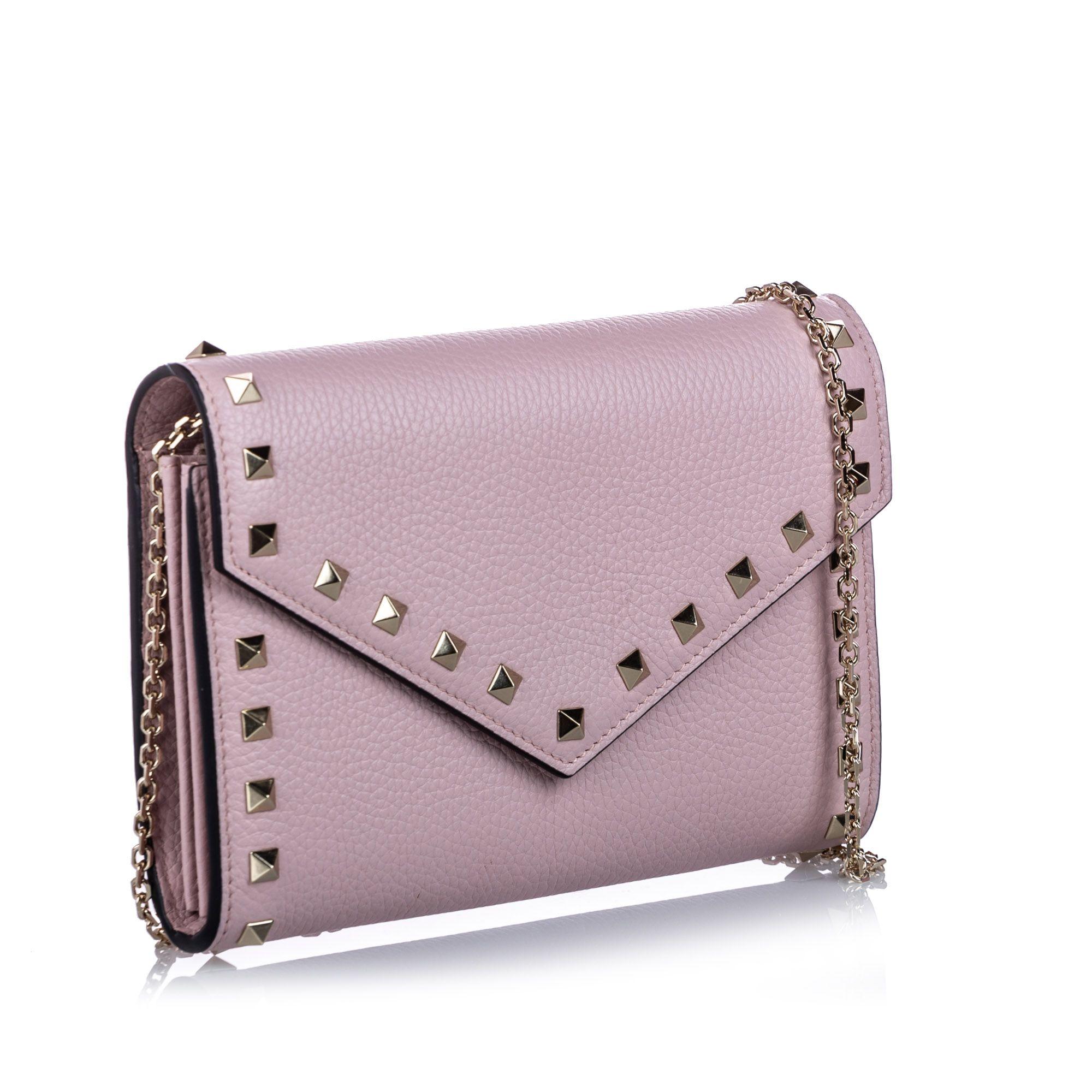 Vintage Valentino Rockstud Leather Wallet on Chain Pink
