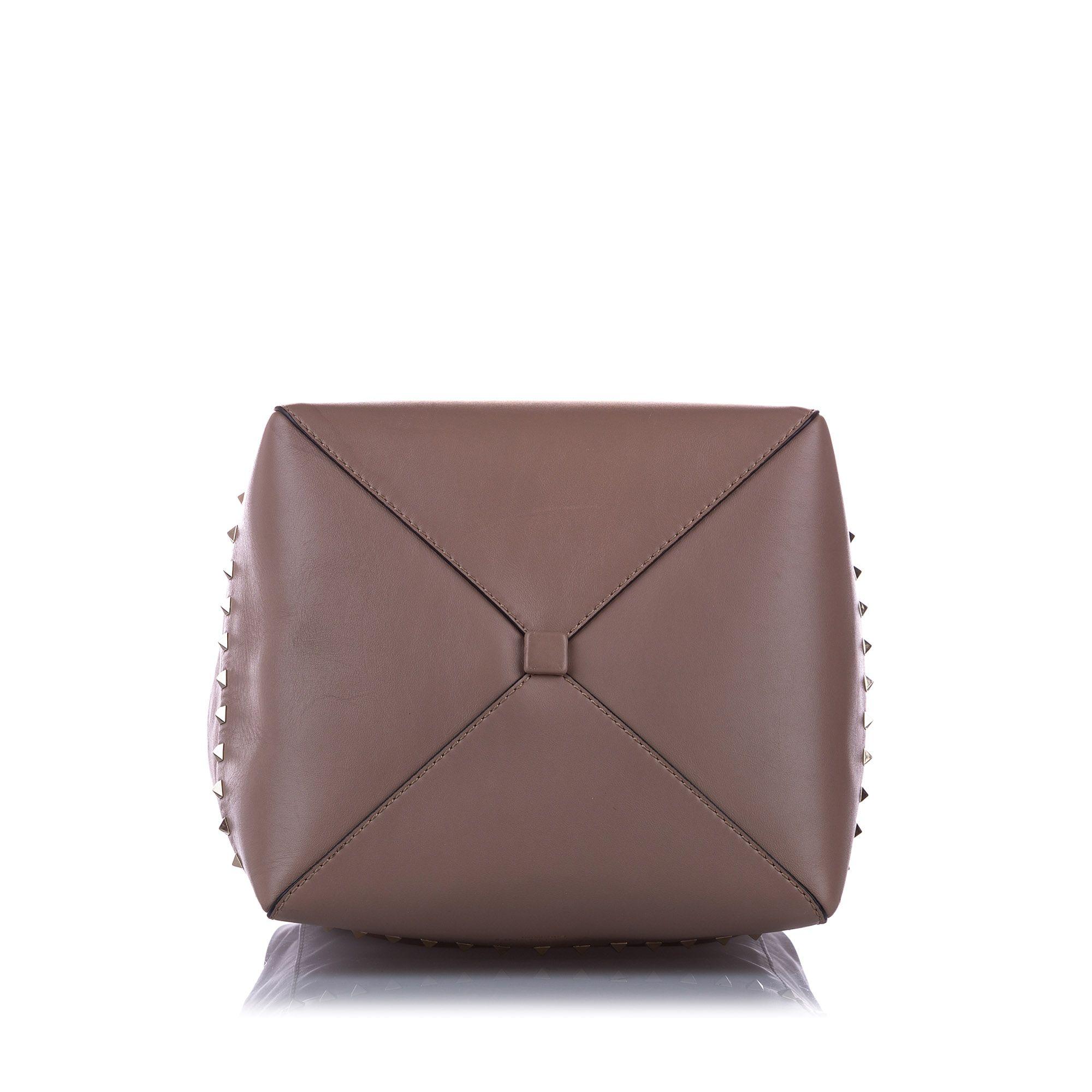 Vintage Valentino Rockstud Leather Satchel Brown