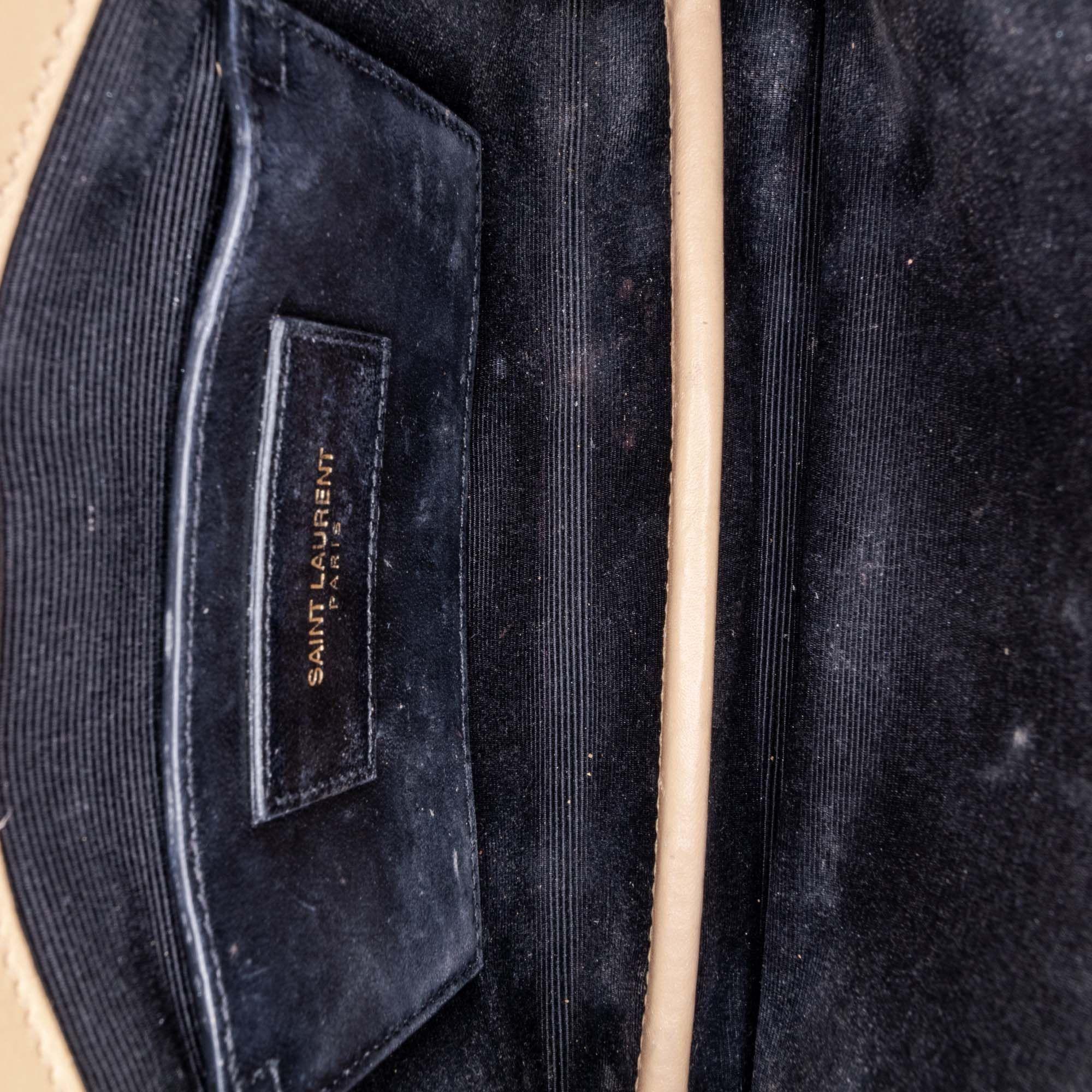 Vintage YSL Monogram Quilted Leather Clutch Bag Brown