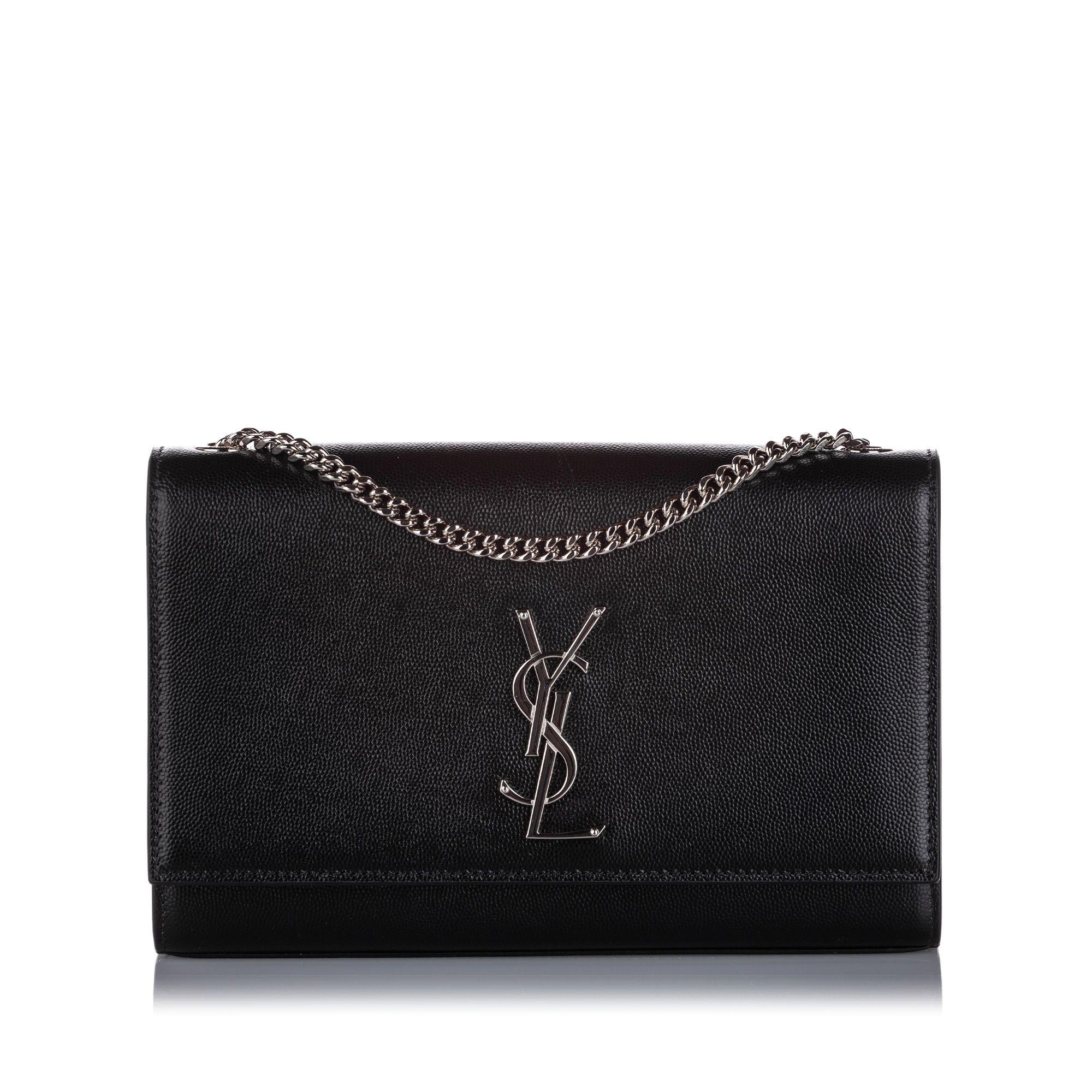 Vintage YSL Small Classic Kate Leather Shoulder Bag Black