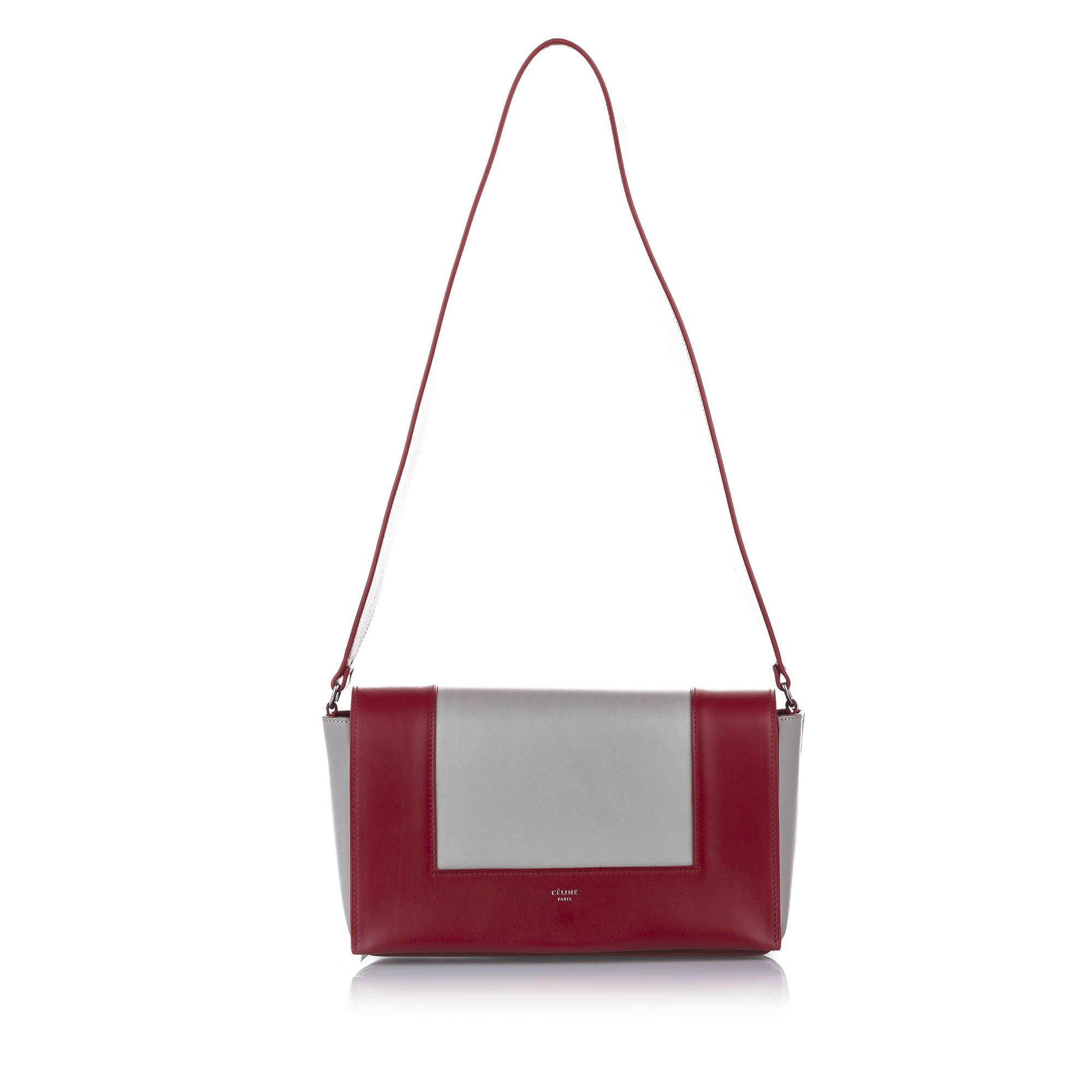 Vintage Celine Frame Leather Shoulder Bag Red