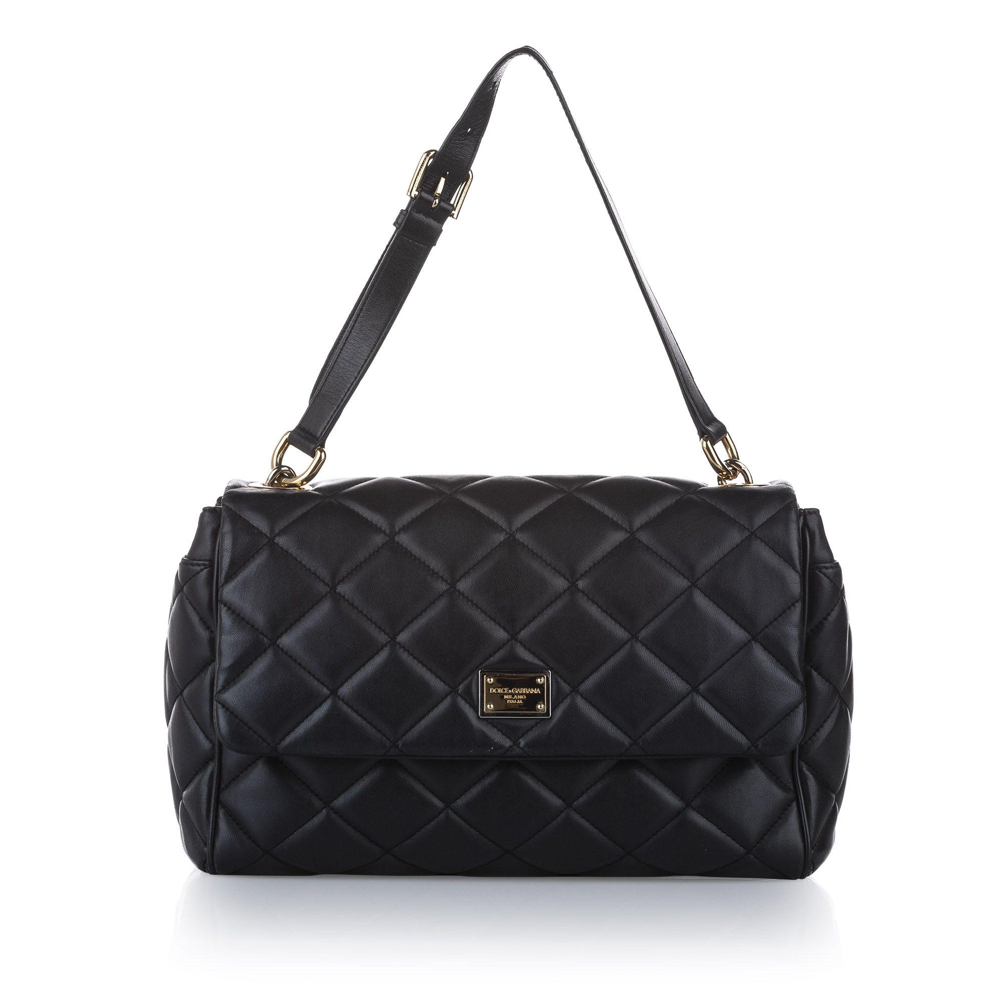 Vintage Dolce&Gabbana Miss Kate Leather Shoulder Bag Black