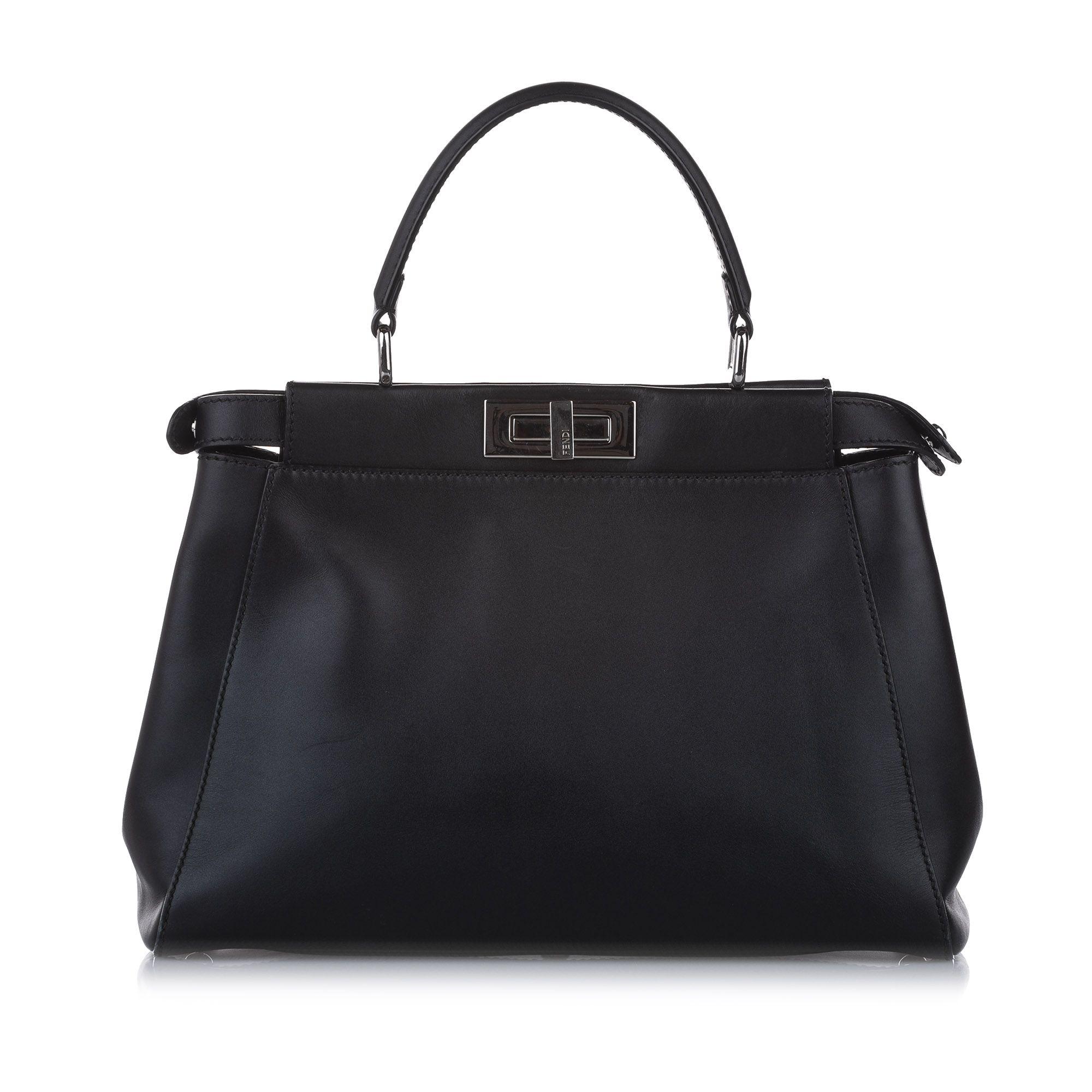 Vintage Fendi Medium Peekaboo Leather Satchel Black