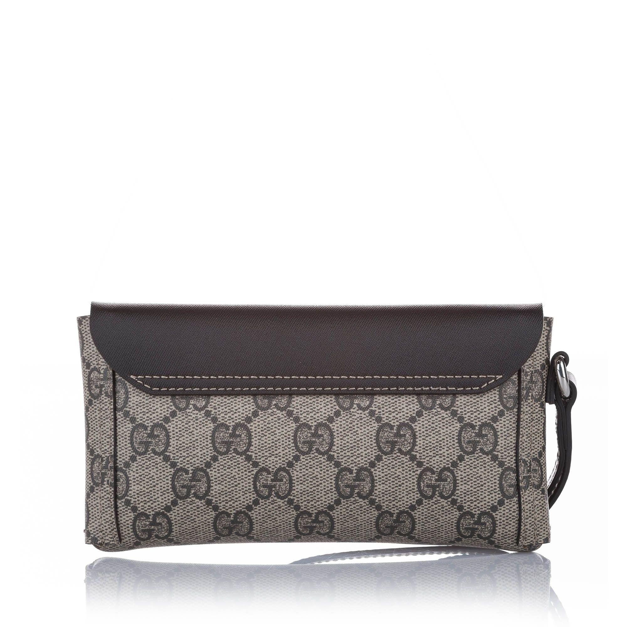 Vintage Gucci GG Supreme Clutch Bag Brown