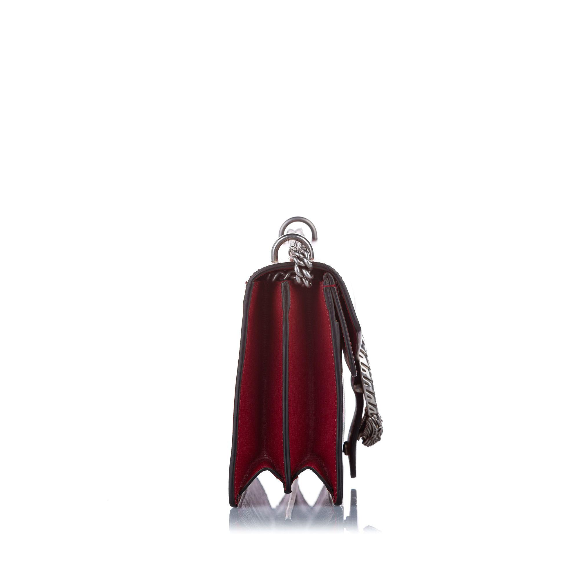 Vintage Gucci Dionysus Blooms Leather Shoulder Bag Red