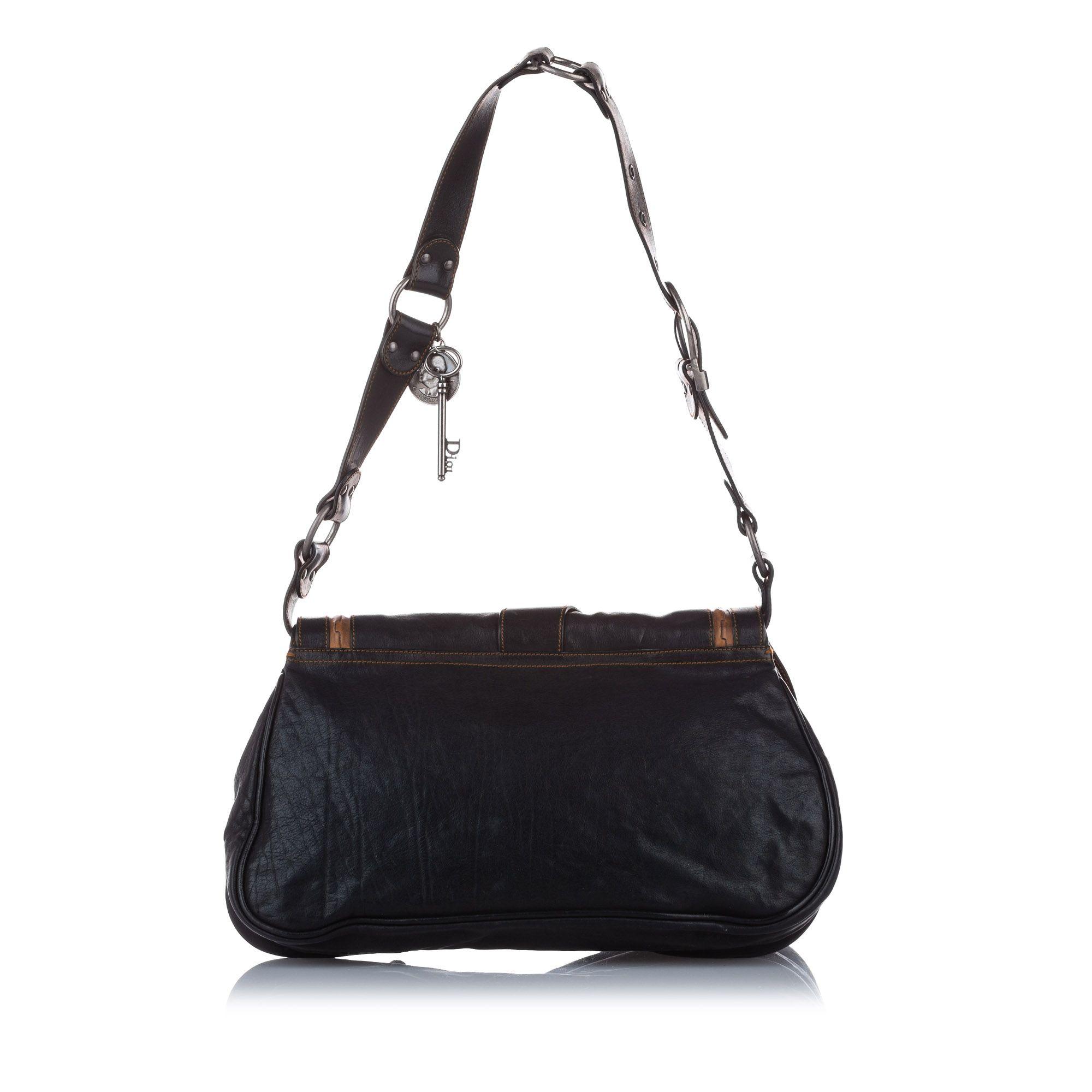 Vintage Dior Leather Gaucho Saddle Black