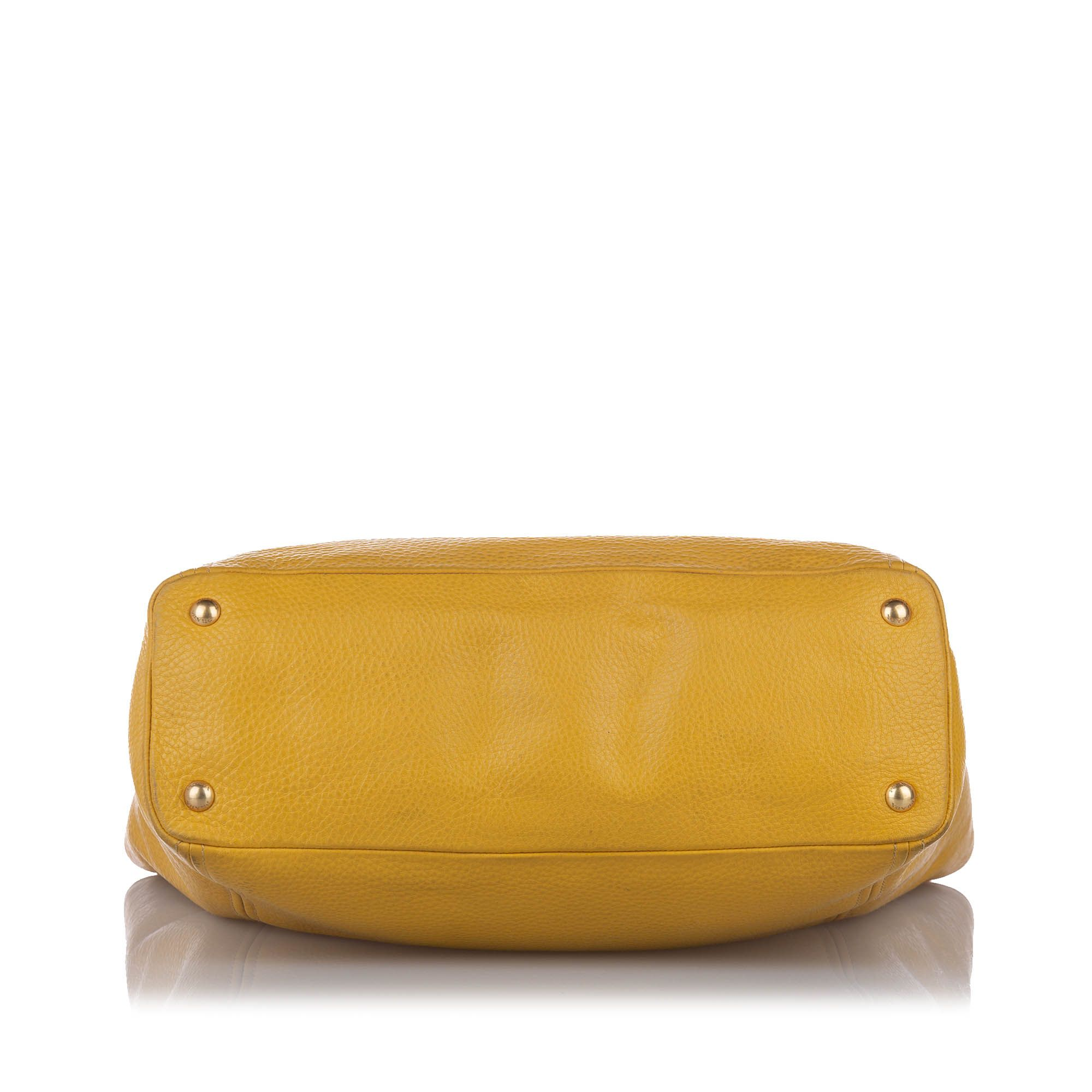 Vintage Prada Vitello Daino Satchel Yellow
