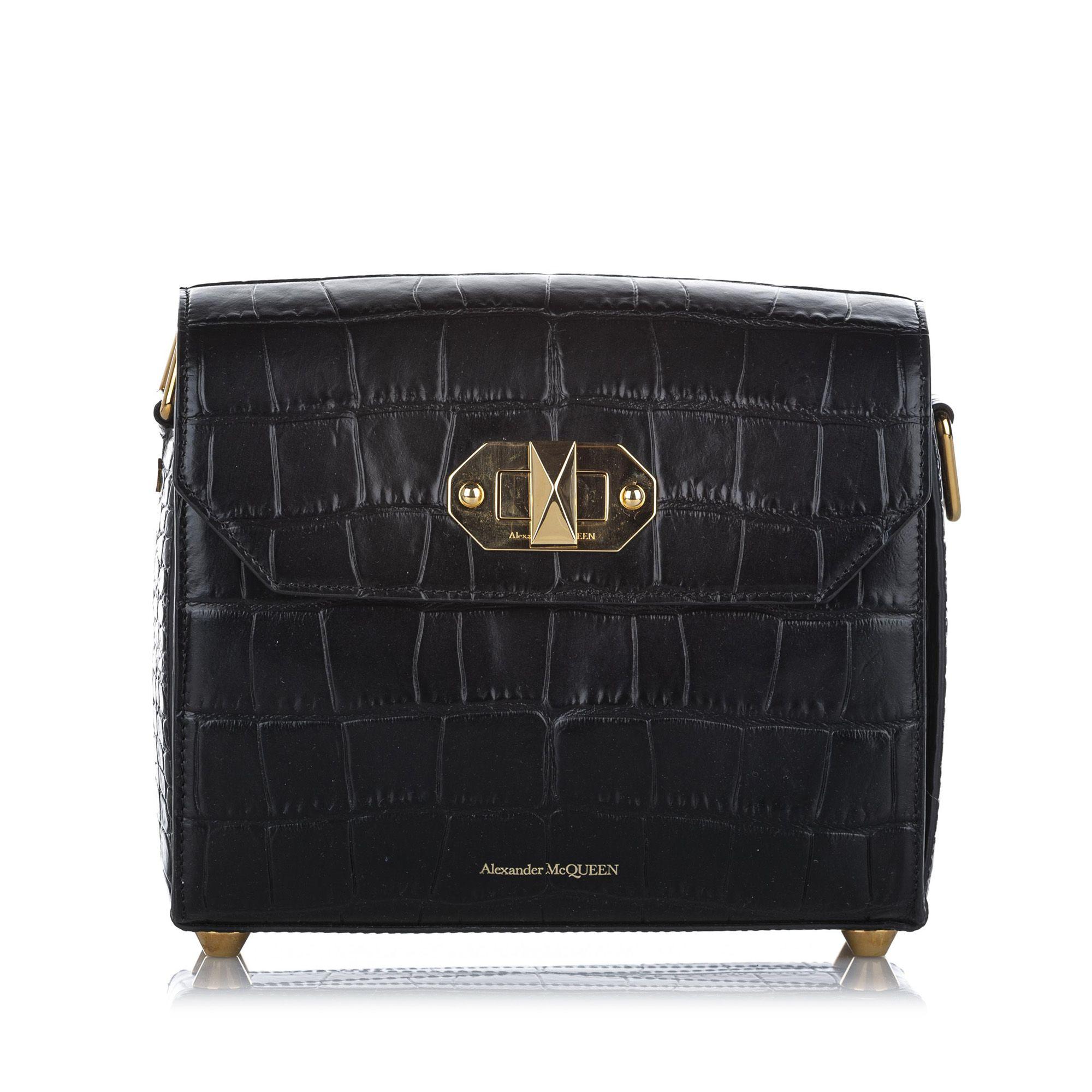 Vintage Alexander McQueen Alex 21.5 Box Embossed Leather Shoulder Bag Black