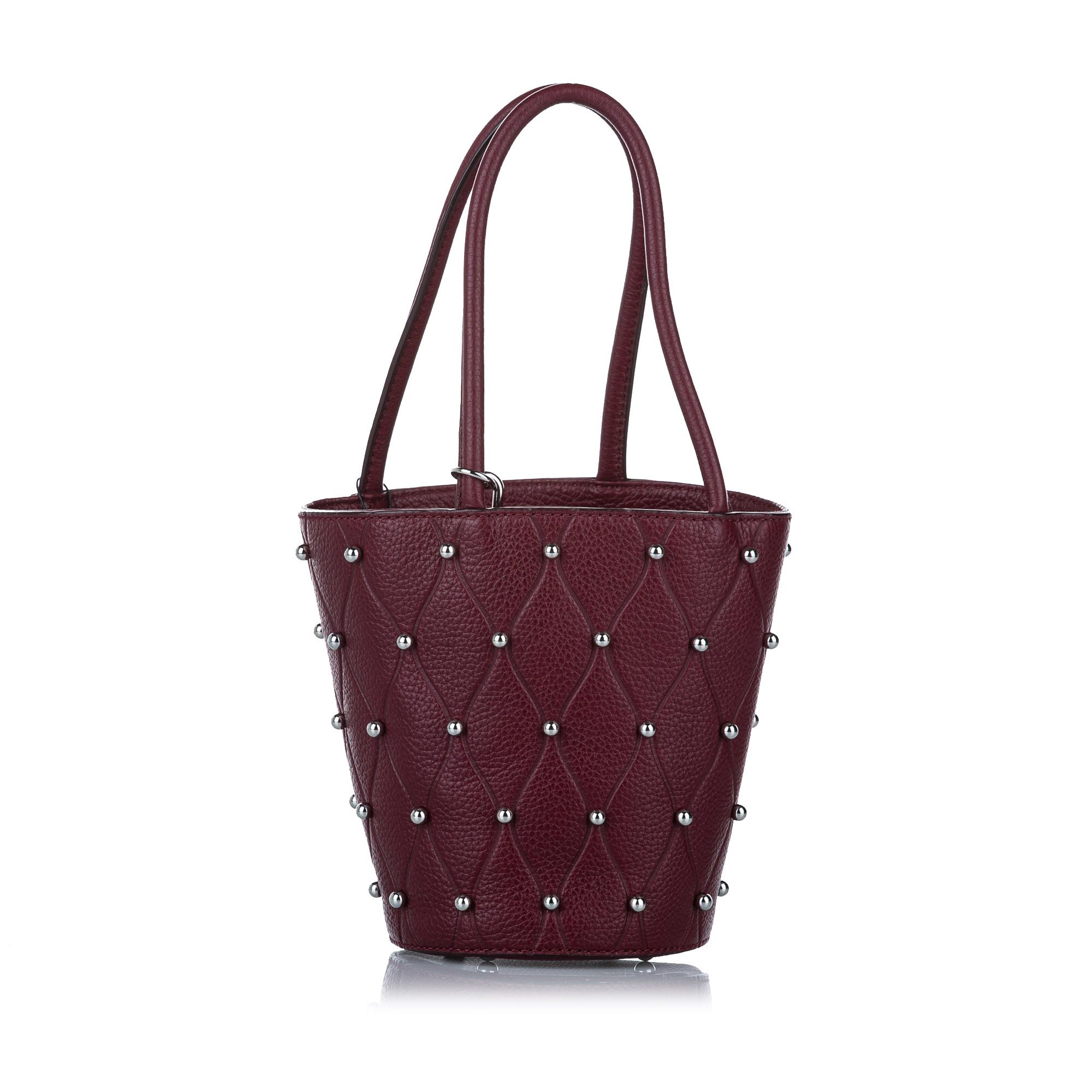 Vintage Alexander Wang Roxy Studded Leather Bucket Bag Red