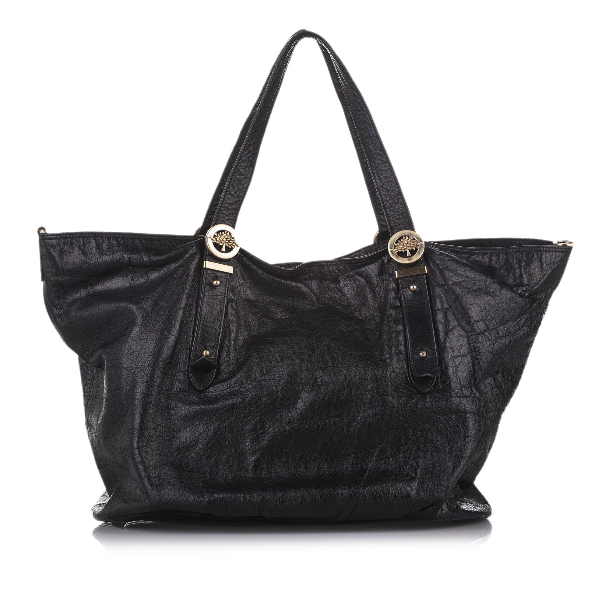 Vintage Mulberry Leather Tote Bag Black