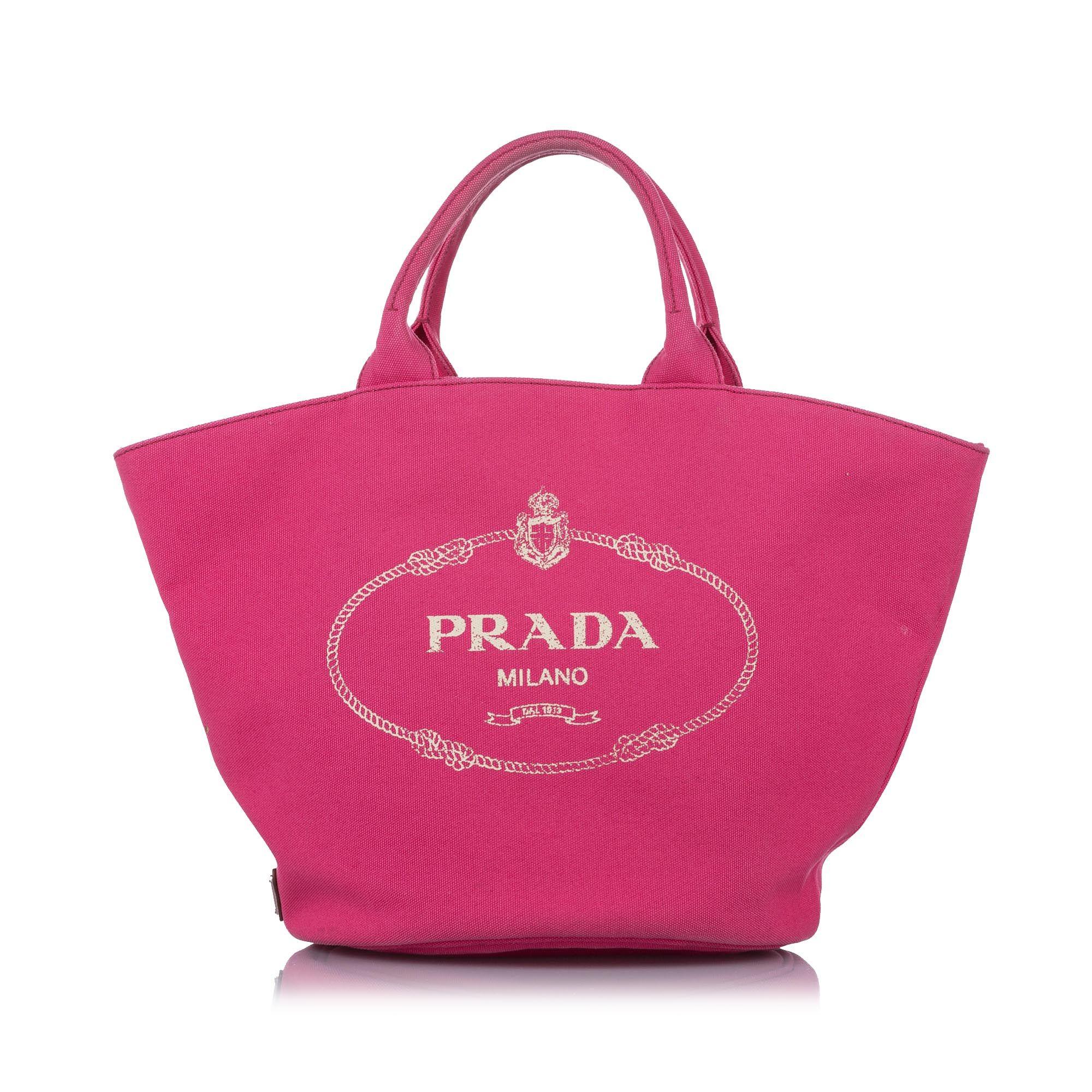 Vintage Prada Canapa Logo Canvas Satchel Pink