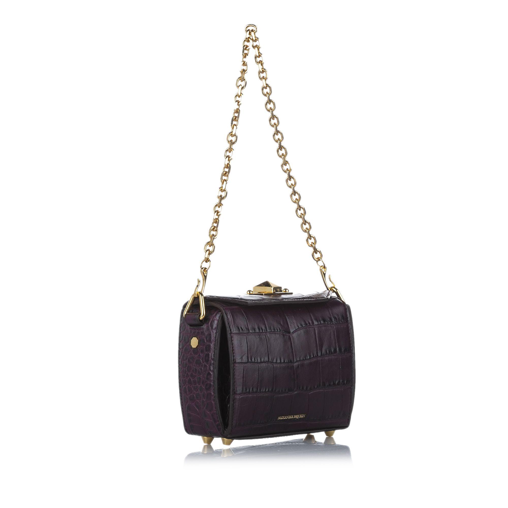Vintage Alexander McQueen Box 16 Embossed Leather Crossbody Bag Purple