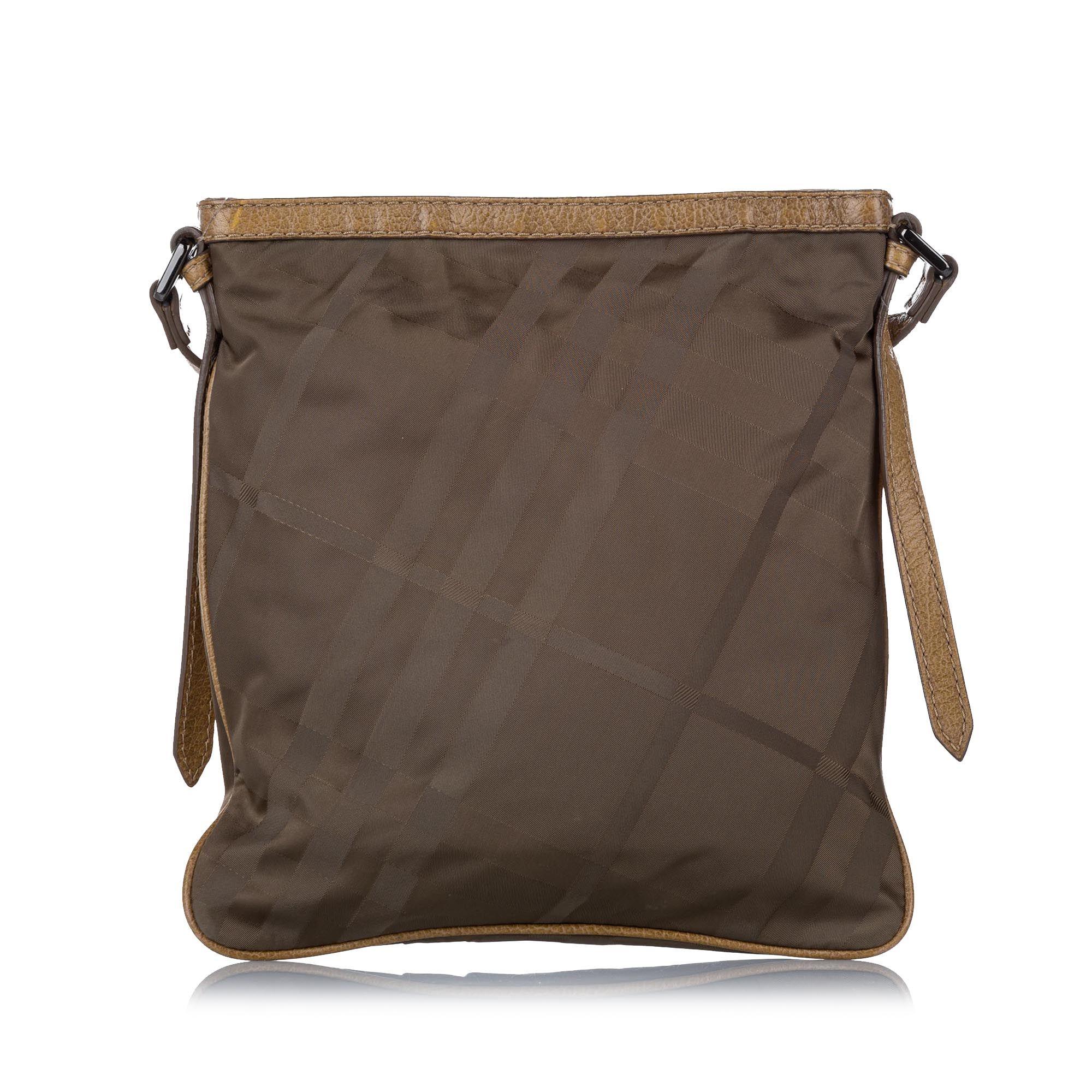 Vintage Burberry Plaid Canvas Crossbody Bag Brown