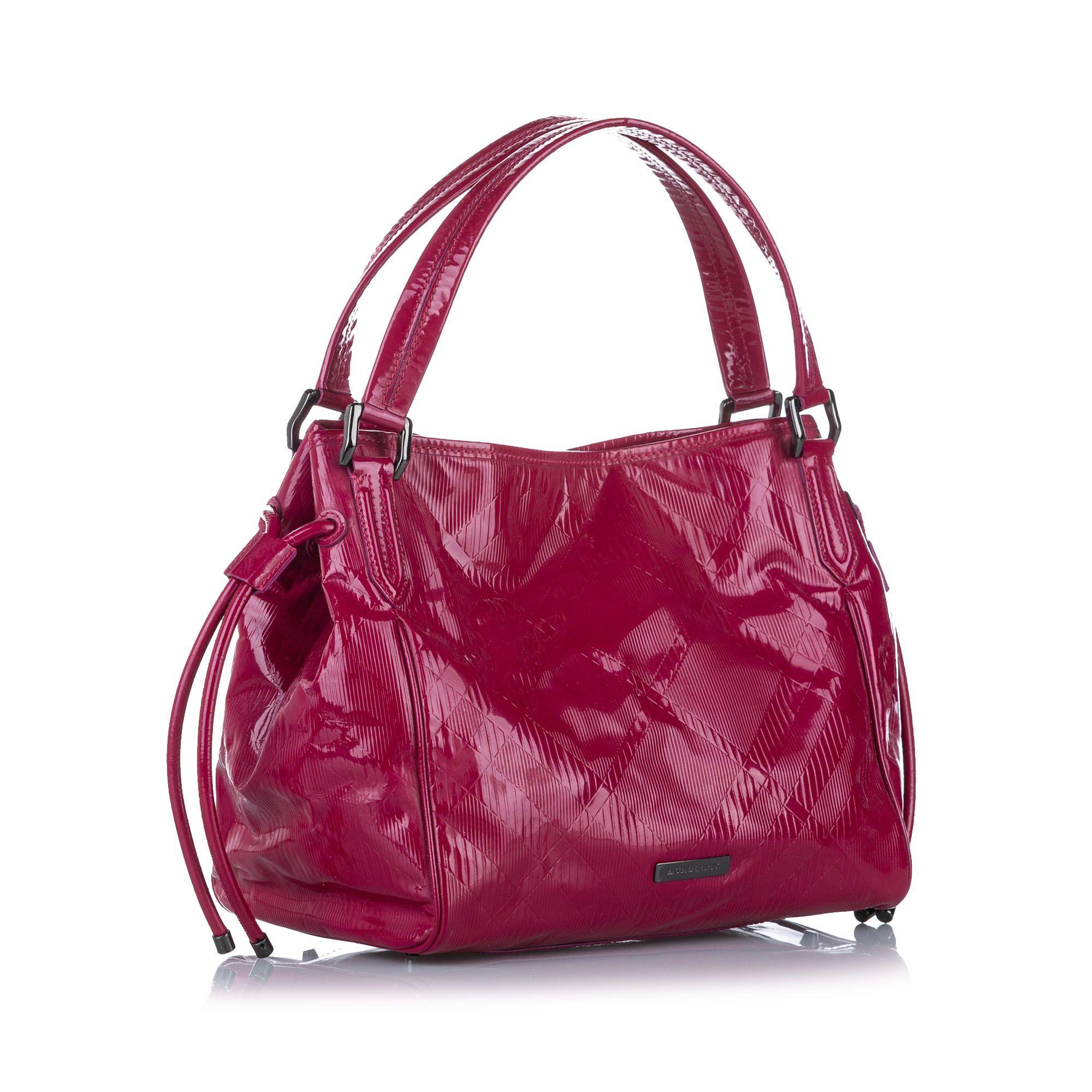 Vintage Burberry Bilmore Patent Leather Tote Bag Pink