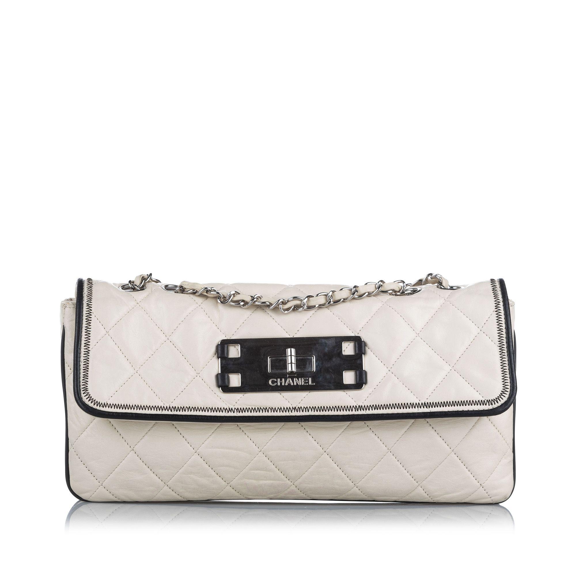 Vintage Chanel Matelasse Reissue Leather Shoulder Bag White