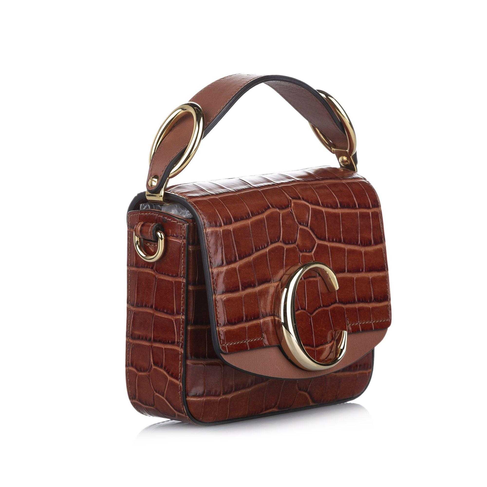 Vintage Chloe Mini C Leather Satchel Brown