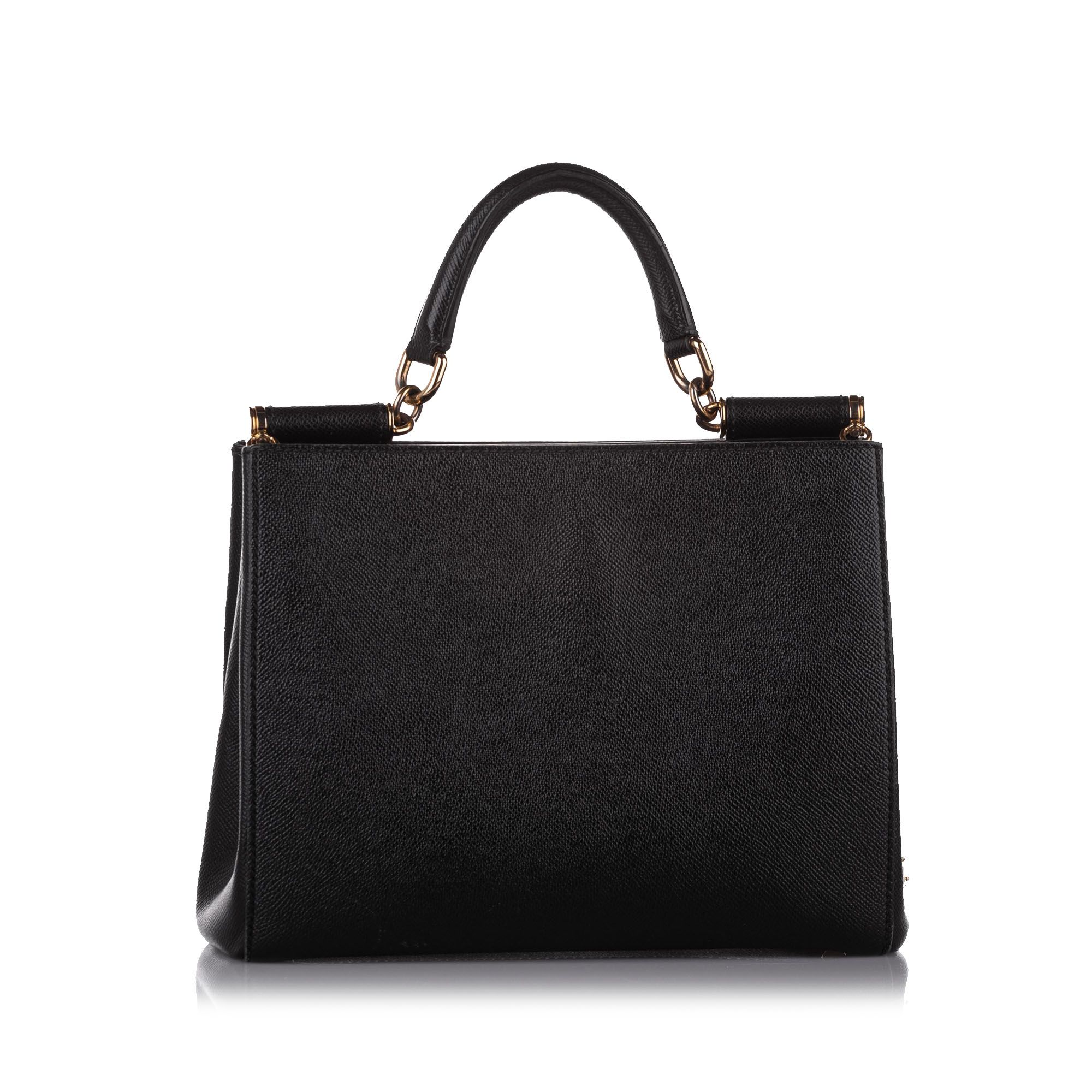 Vintage Dolce&Gabbana Miss Sicily Leather Satchel Black