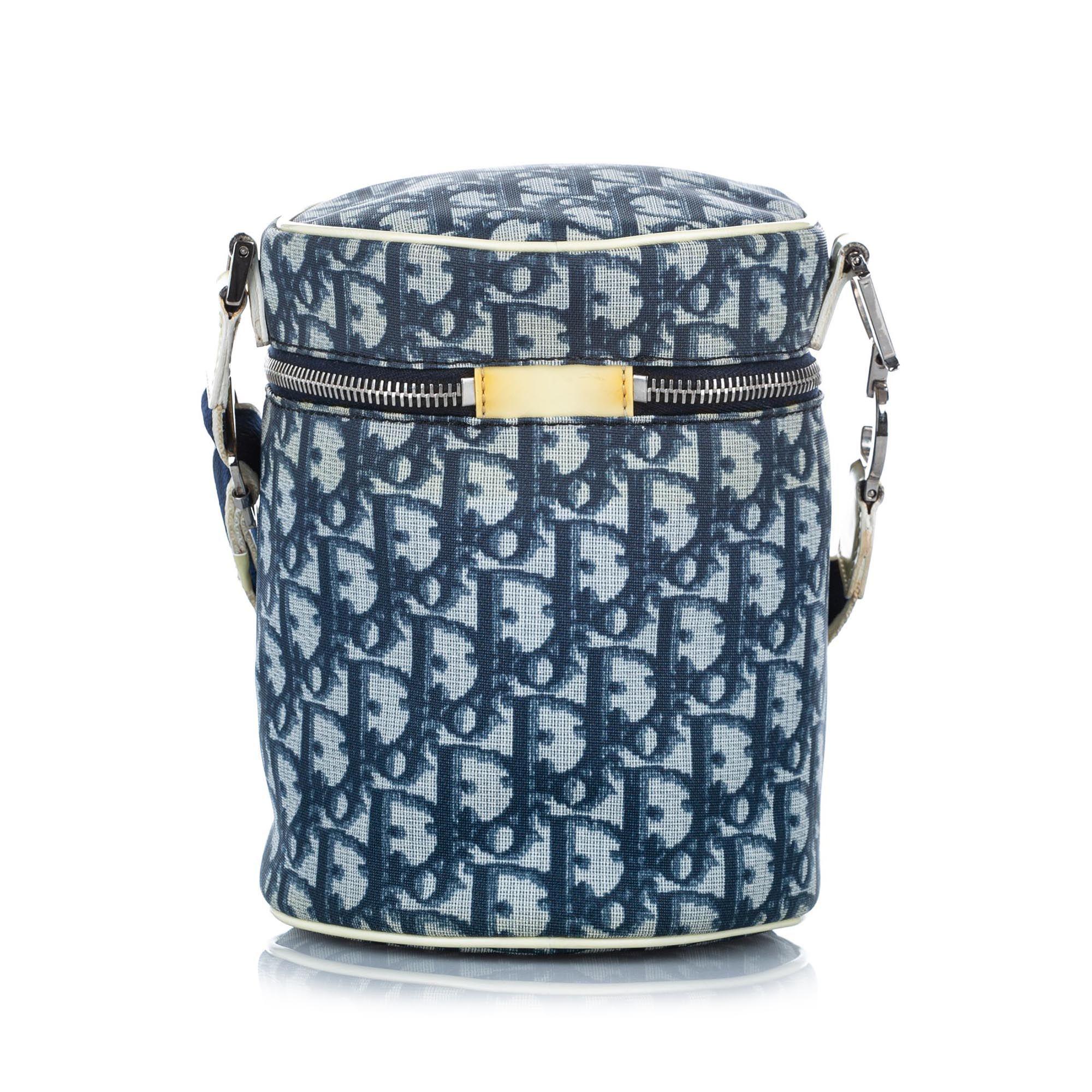 Vintage Dior Dior Oblique Trotter Canvas Bucket Bag Blue