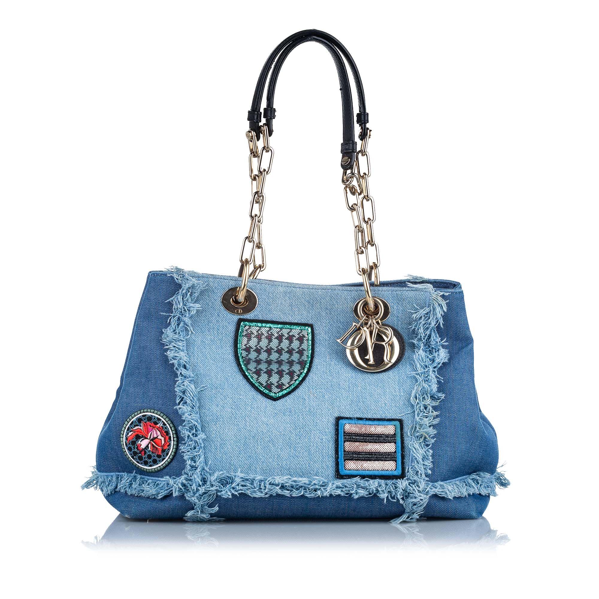 Vintage Dior Lady Dior Denim Shoulder Bag Blue