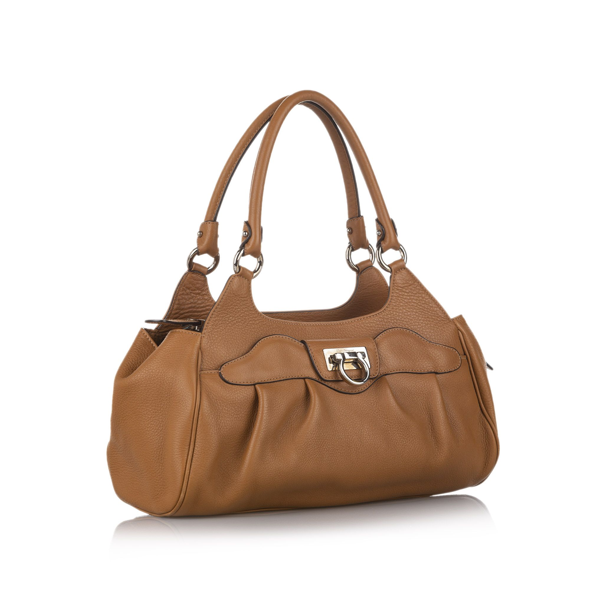 Vintage Ferragamo Gancini Leather Shoulder Bag Brown