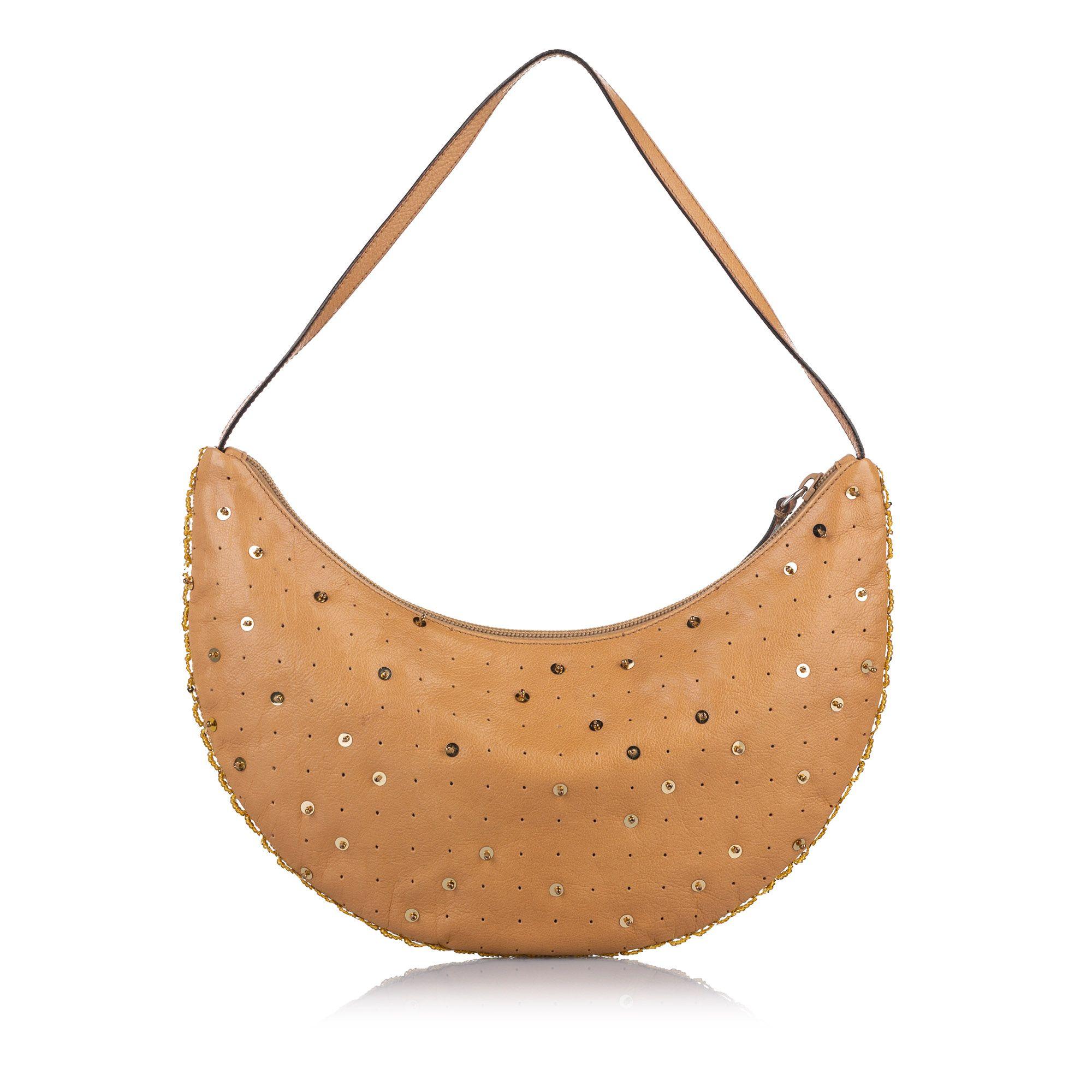 Vintage Miu Miu Embellished Leather Baguette Brown