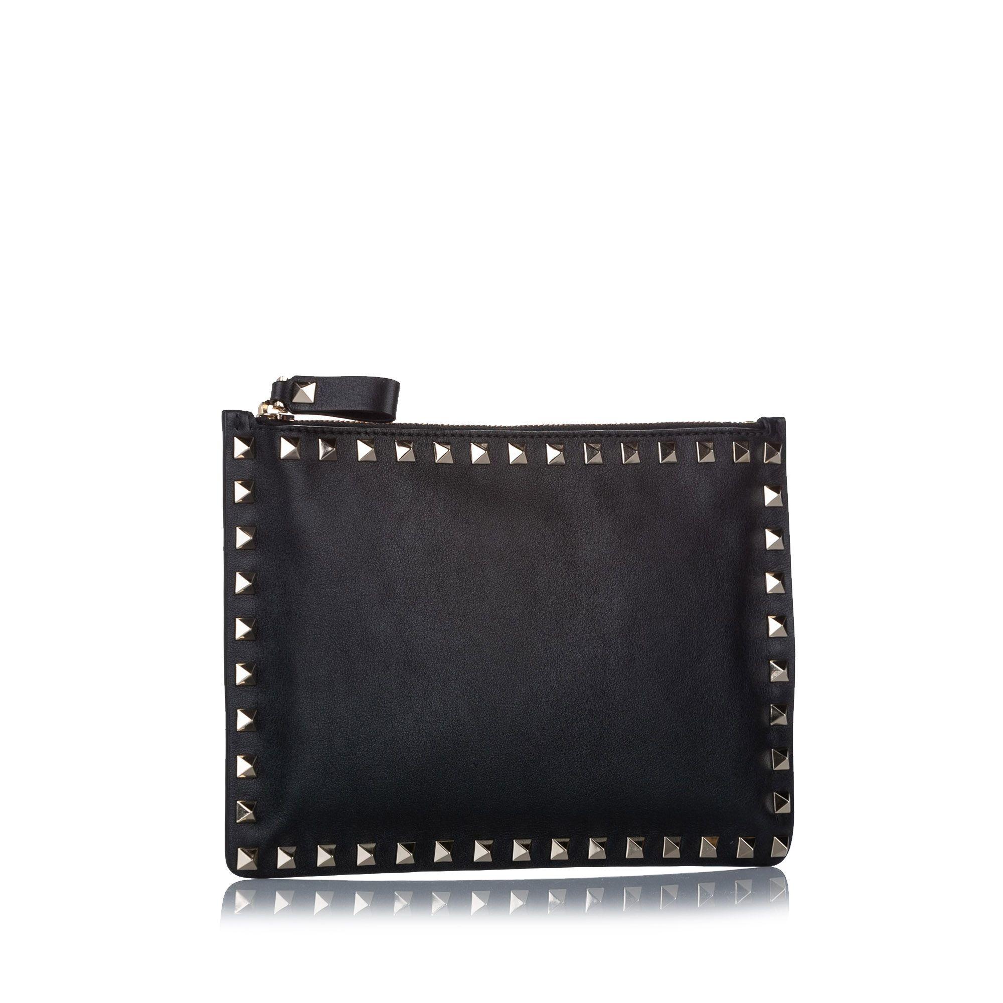 Vintage Valentino Rockstud Leather Clutch Bag Black