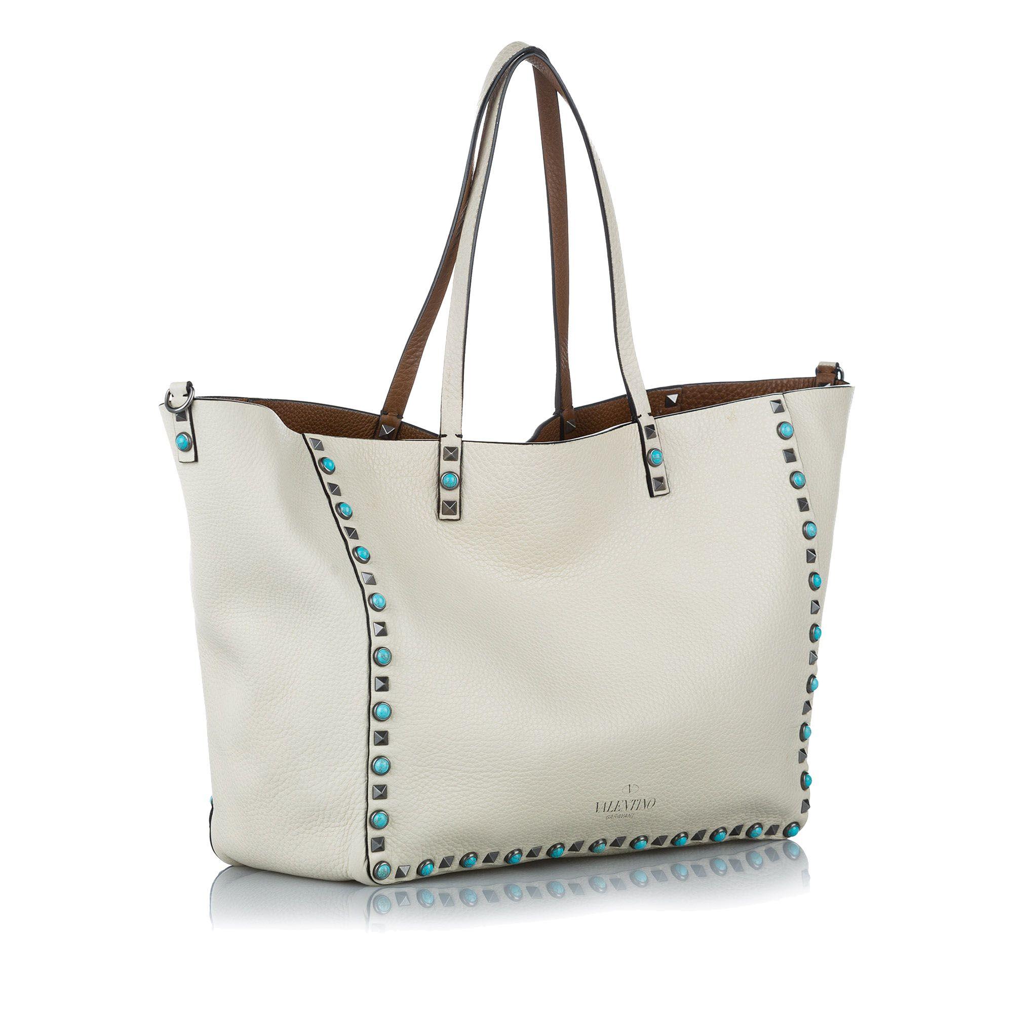 Vintage Valentino Rockstud Leather Tote Bag White