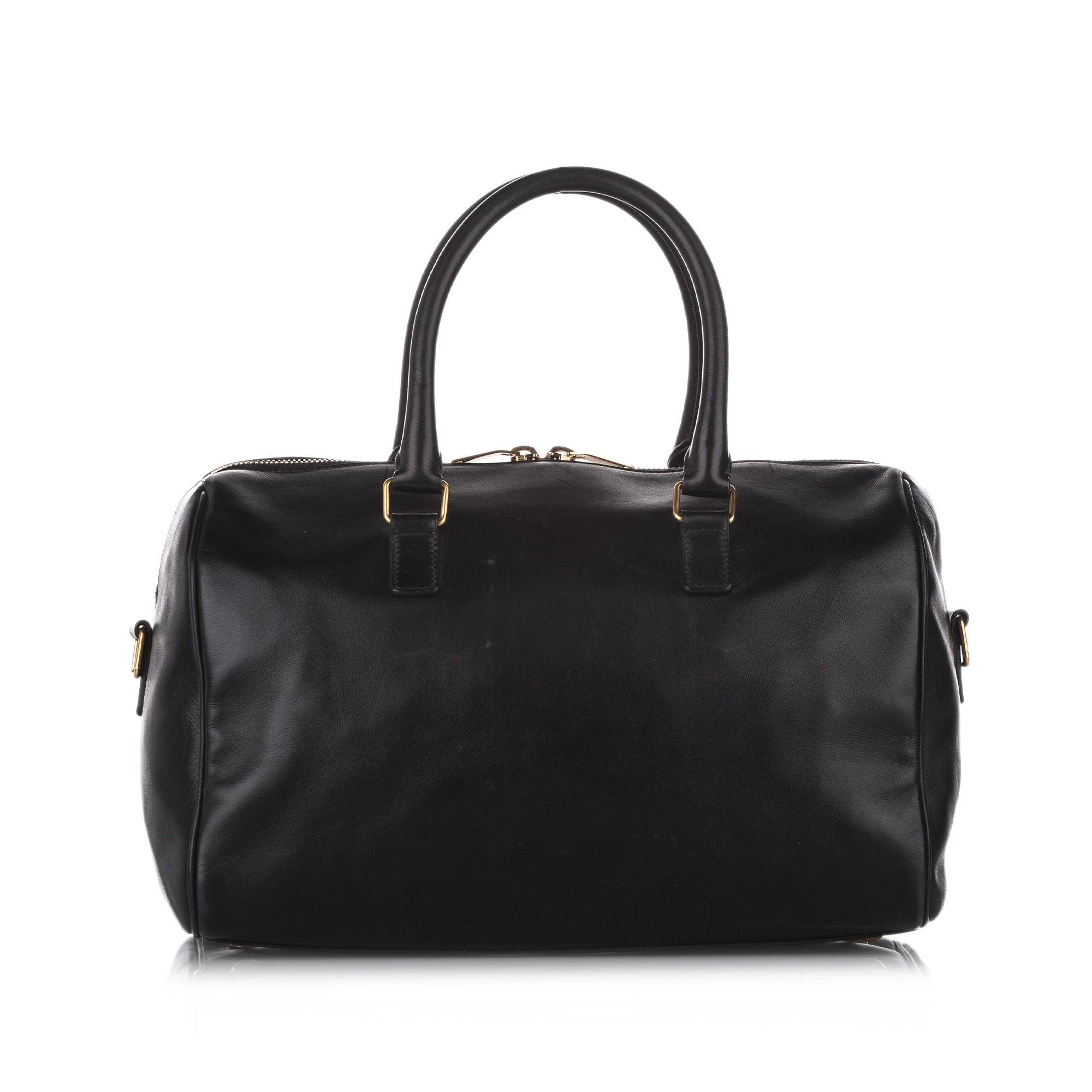 Vintage YSL Classic Duffle 6 Leather Satchel Black