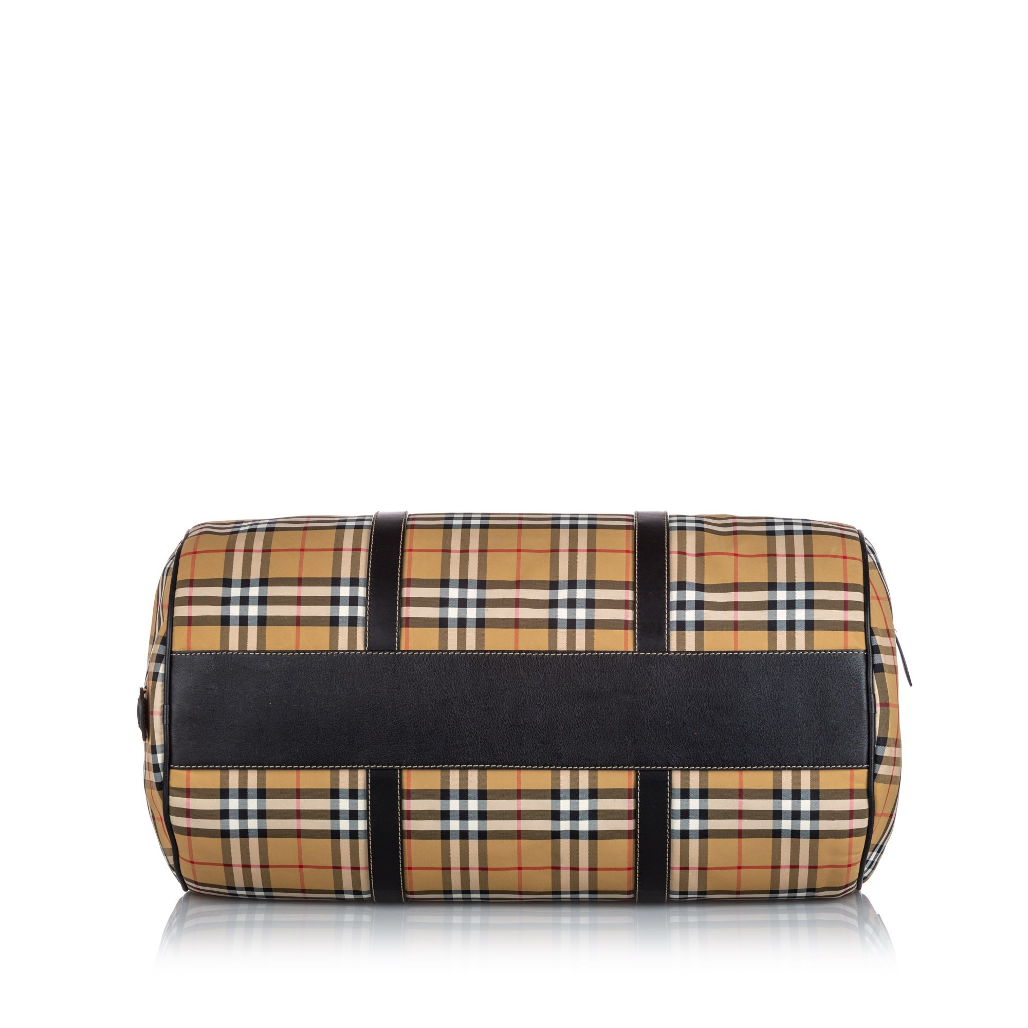 Vintage Burberry House Check Canvas Barrel Bag Brown