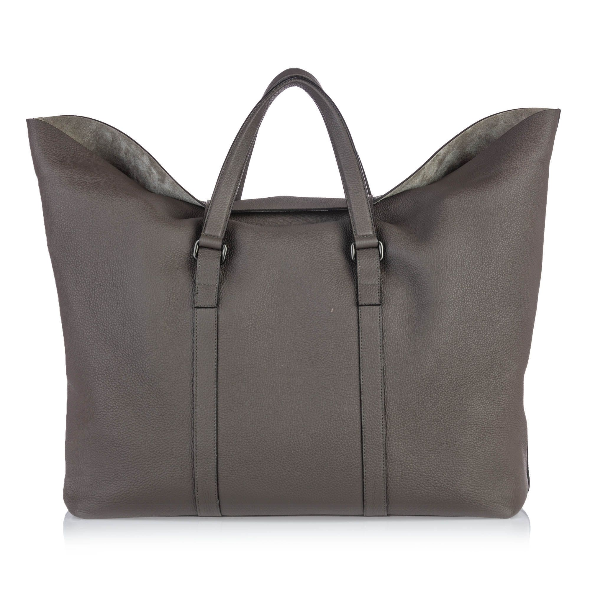 Vintage Gucci Leather Grand Prix Weekend Duffel Bag Gray