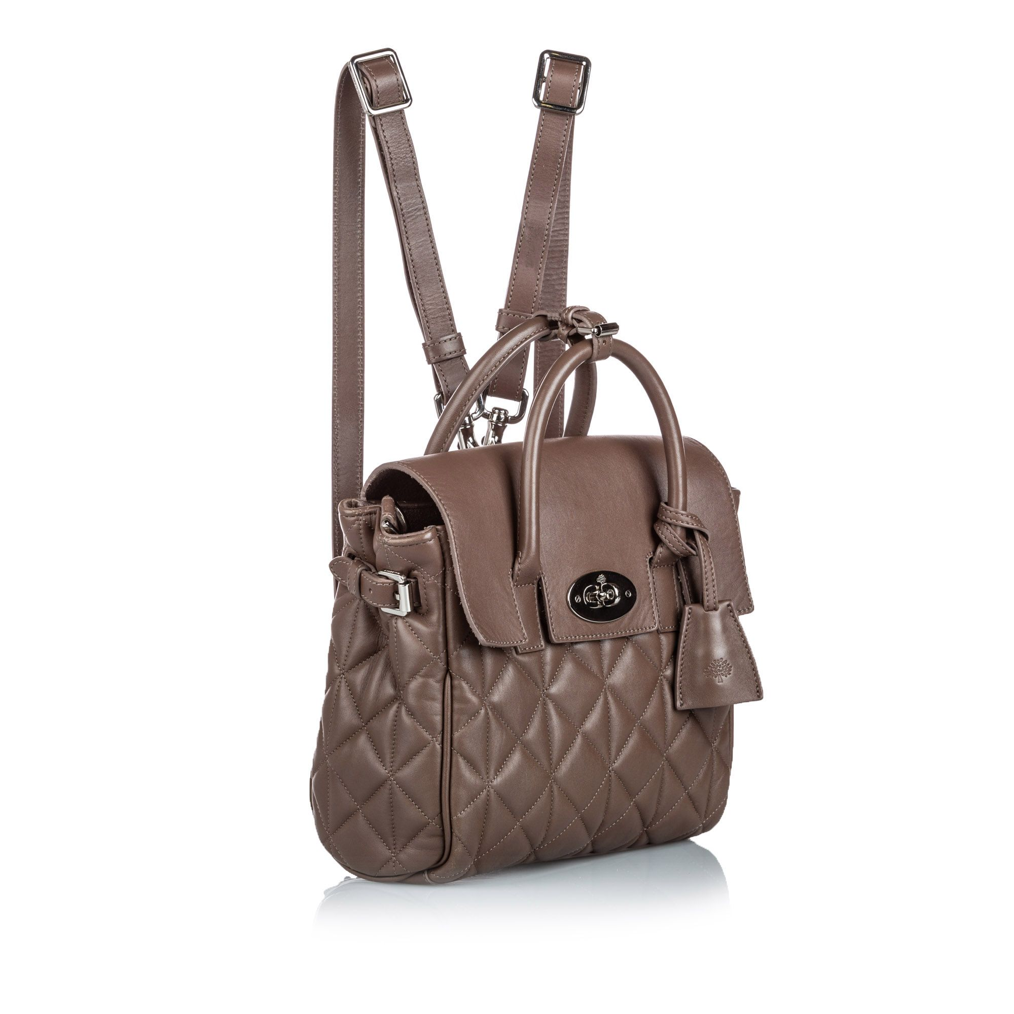 Vintage Mulberry Quilted Cara Delevigne Backpack Brown