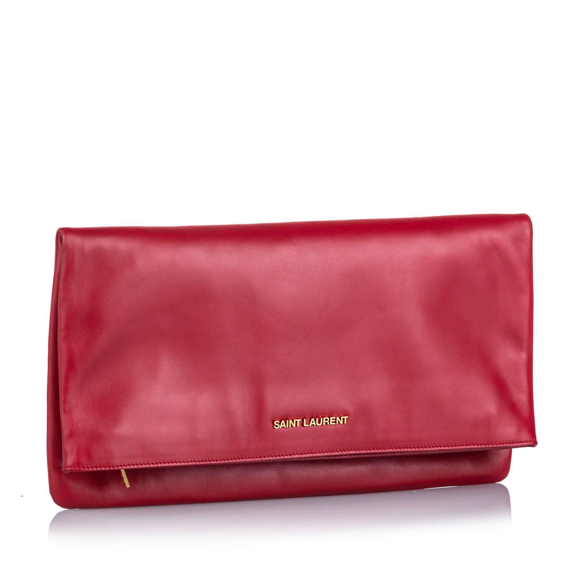 Vintage YSL Leather Fold Over Clutch Bag Red