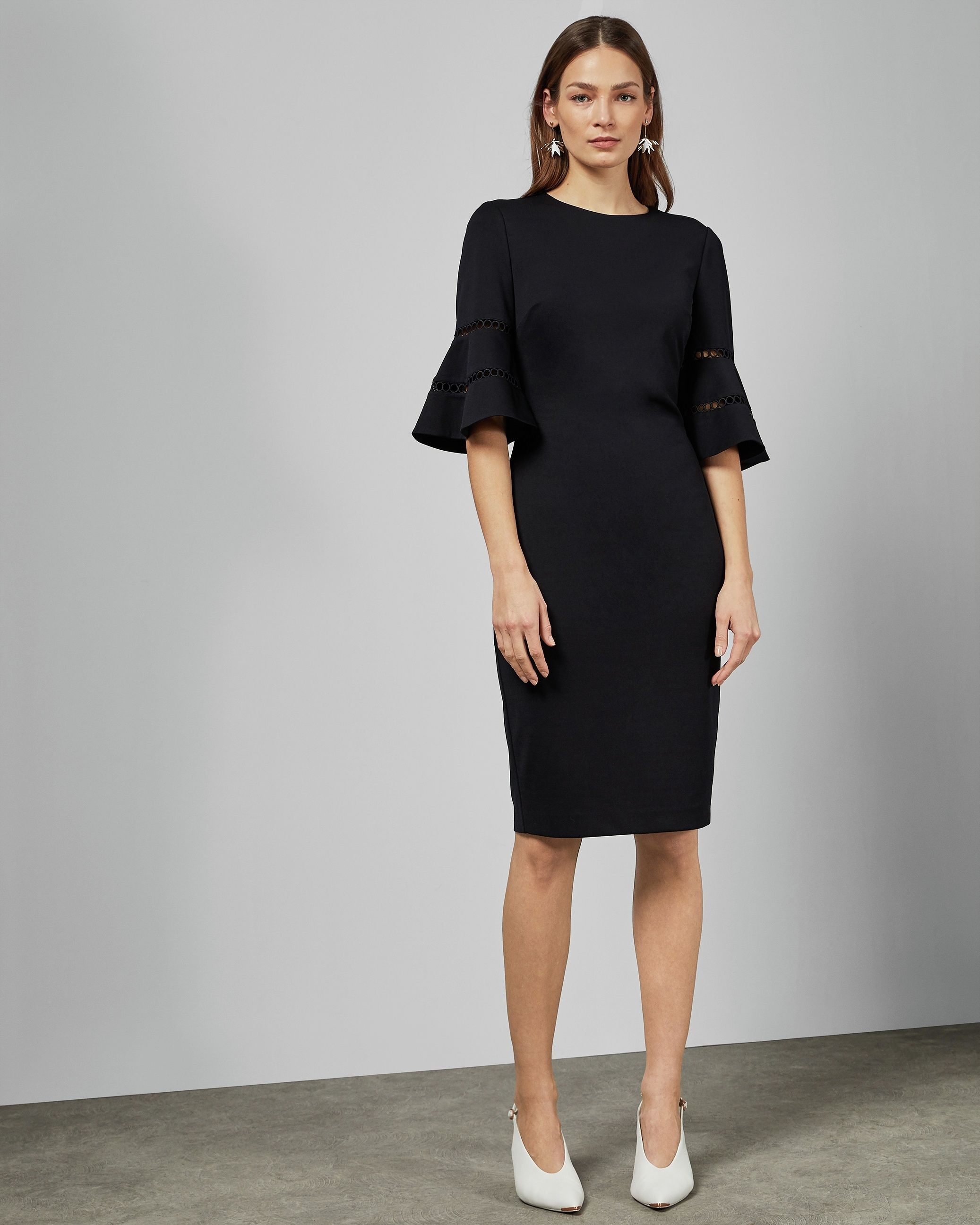 Ted Baker Filnio Lace Sleeve Bodycon Dress in Navy