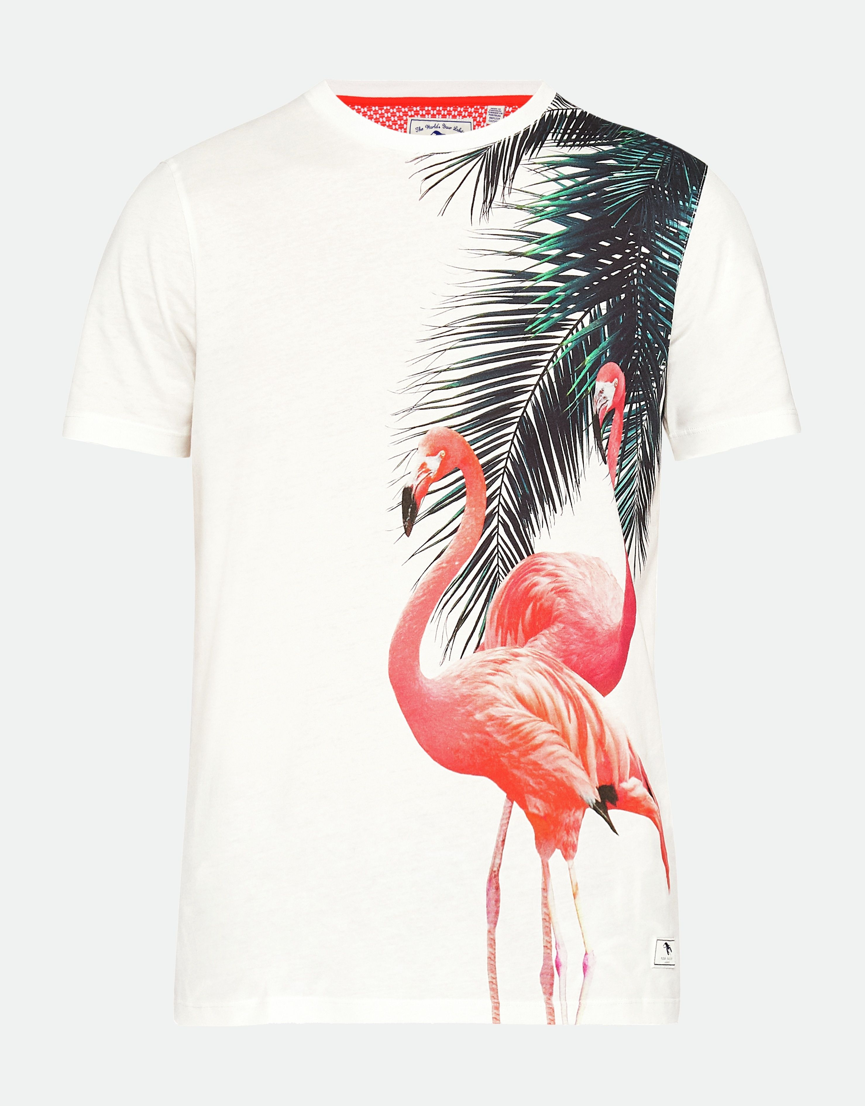 Ted Baker Flaameo Short-Sleeved Flamingo Placement T-Shirt, White