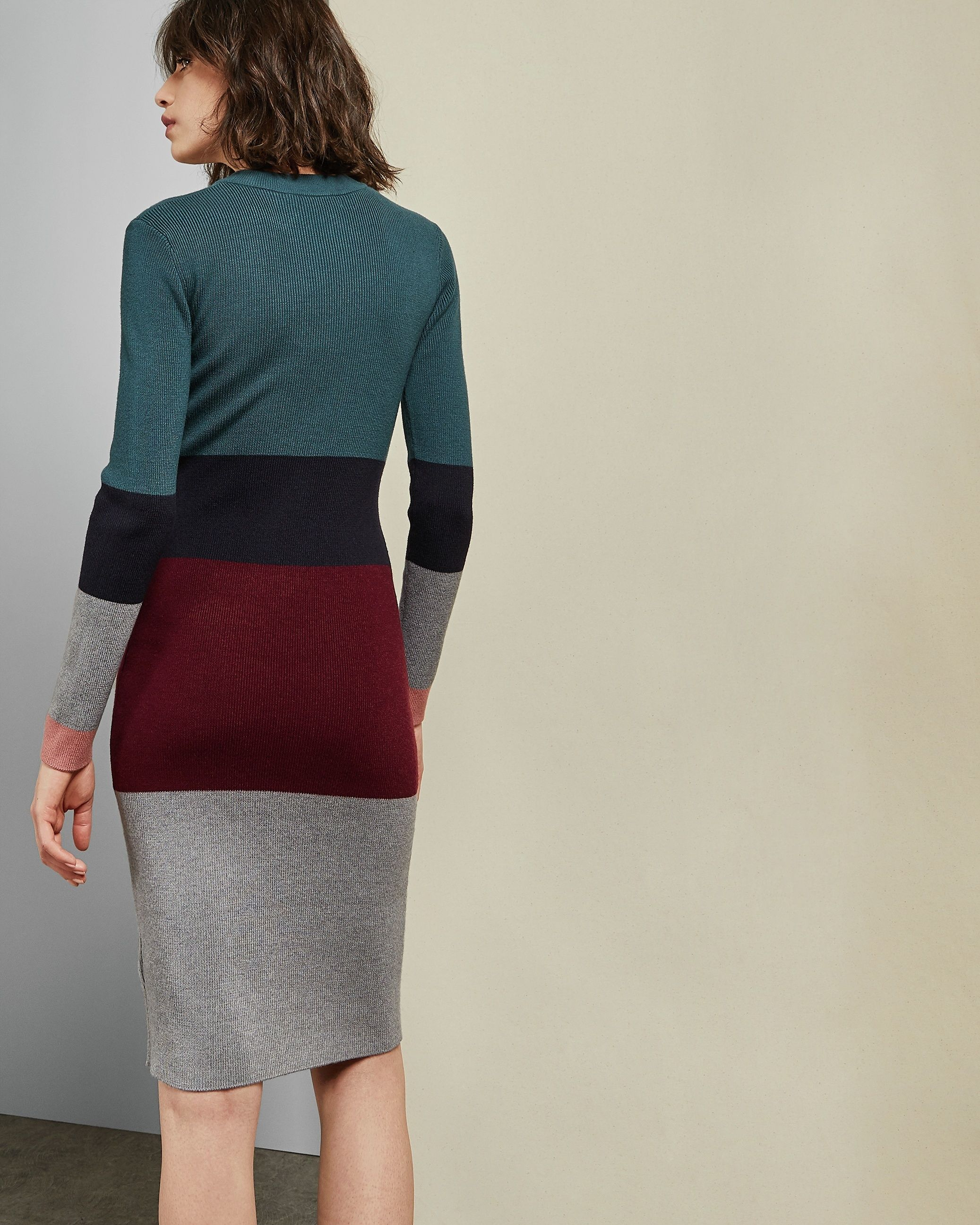 Ted Baker Franae Cabin Ribbed Knitted Dress in Teal Blue