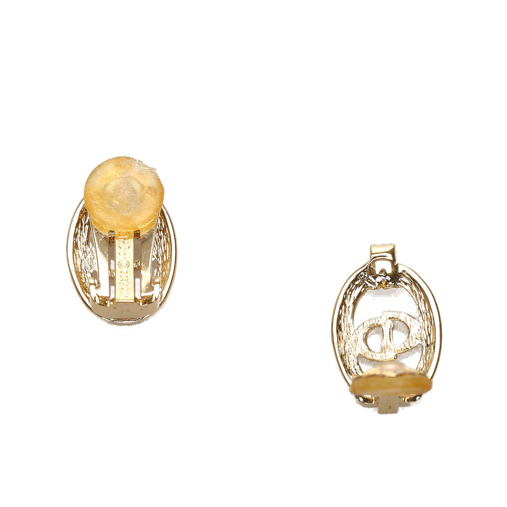 Vintage Dior Logo Rhinestone Clip-On Earrings Gold