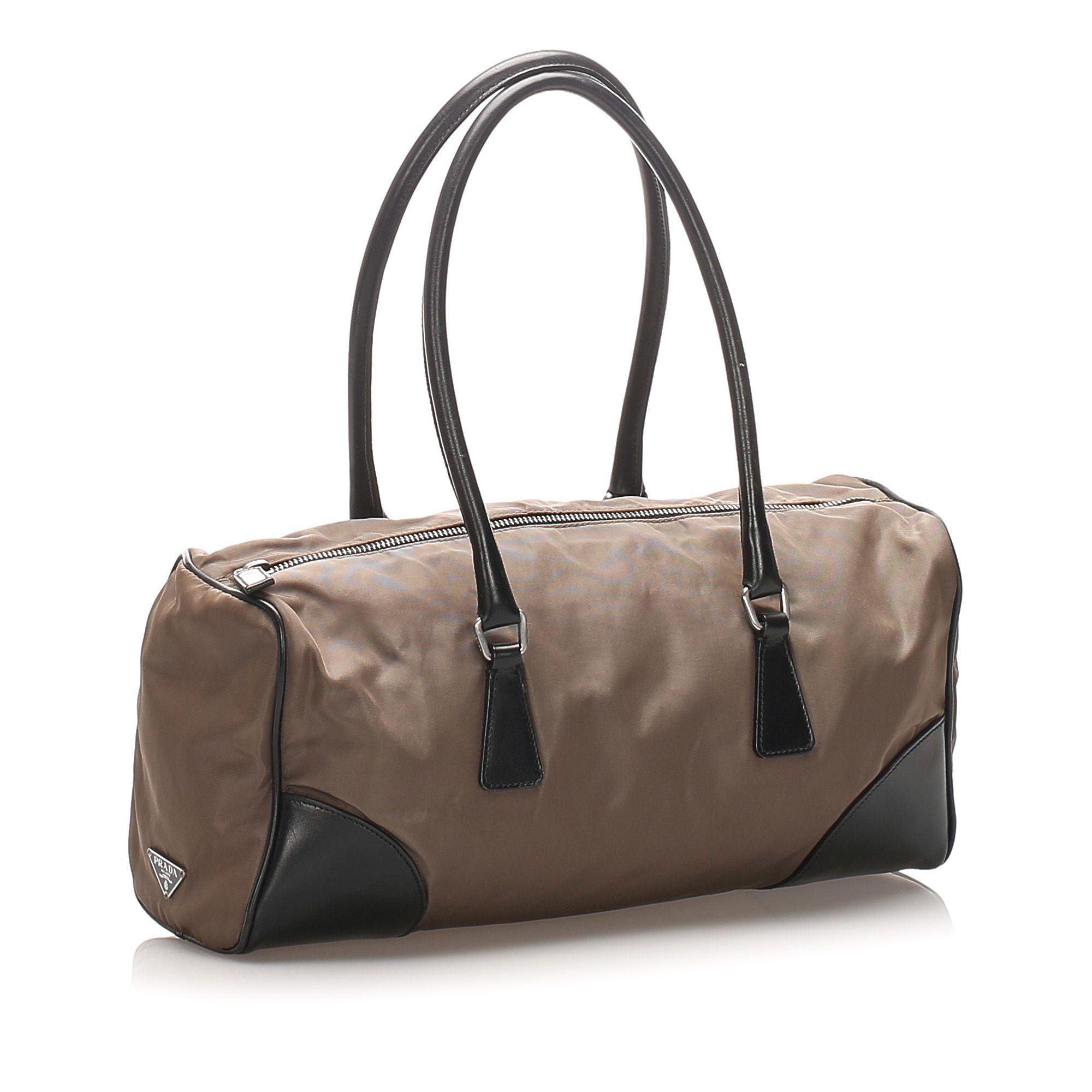 Vintage Prada Tessuto Shoulder Bag Brown