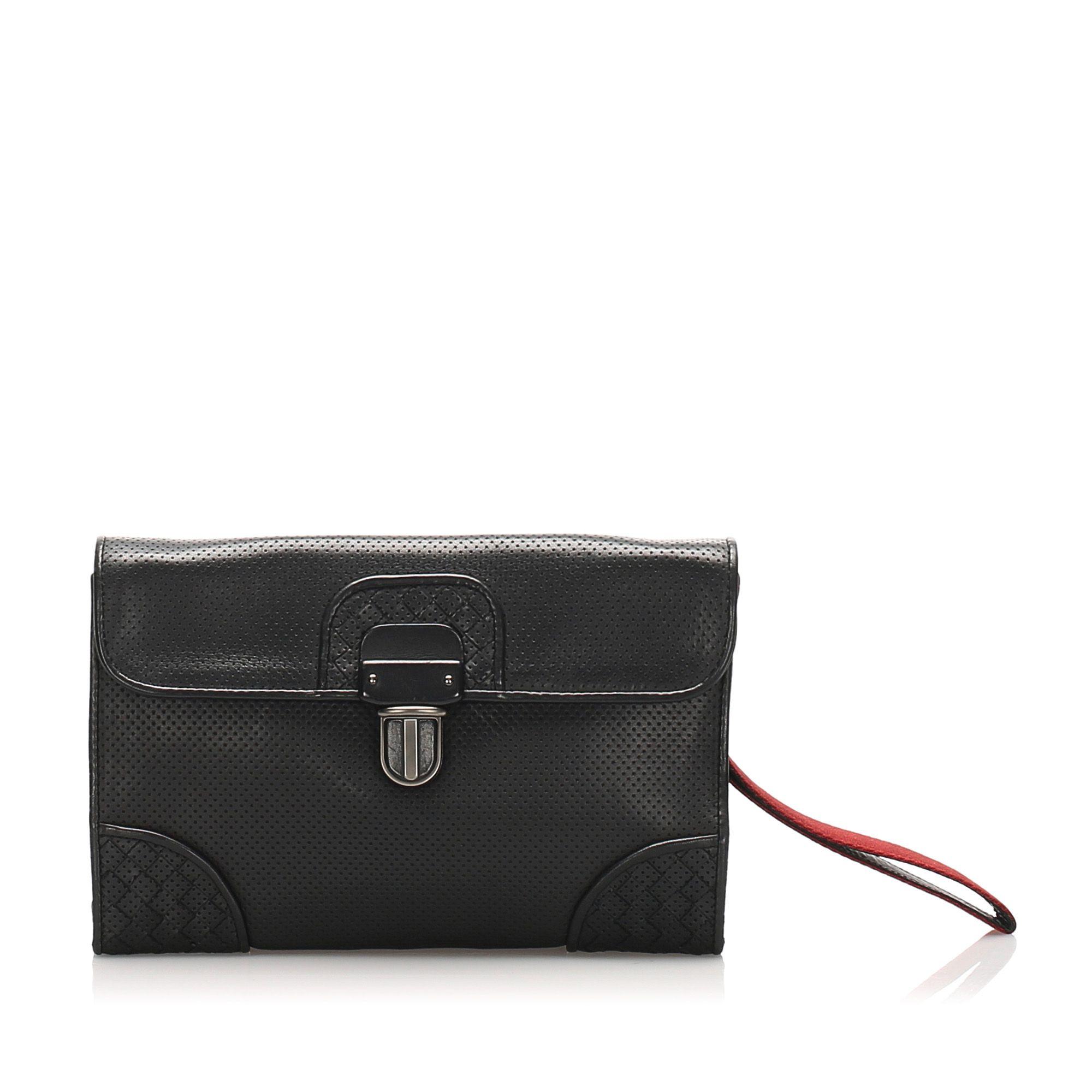 Vintage Bottega Veneta Intrecciato Perforated Leather Clutch Bag Black