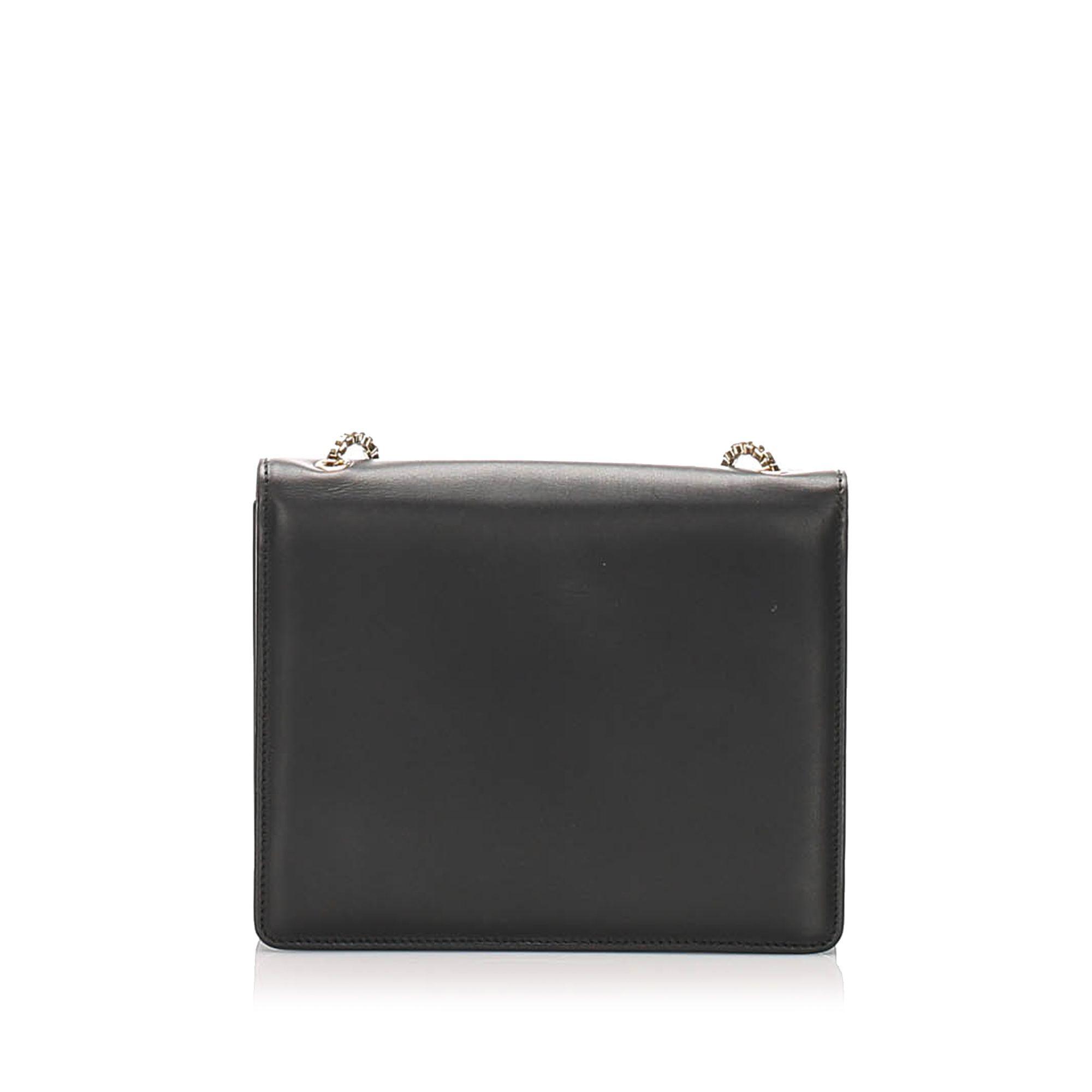 Vintage Ferragamo Thalia Leather Crossbody Bag Black