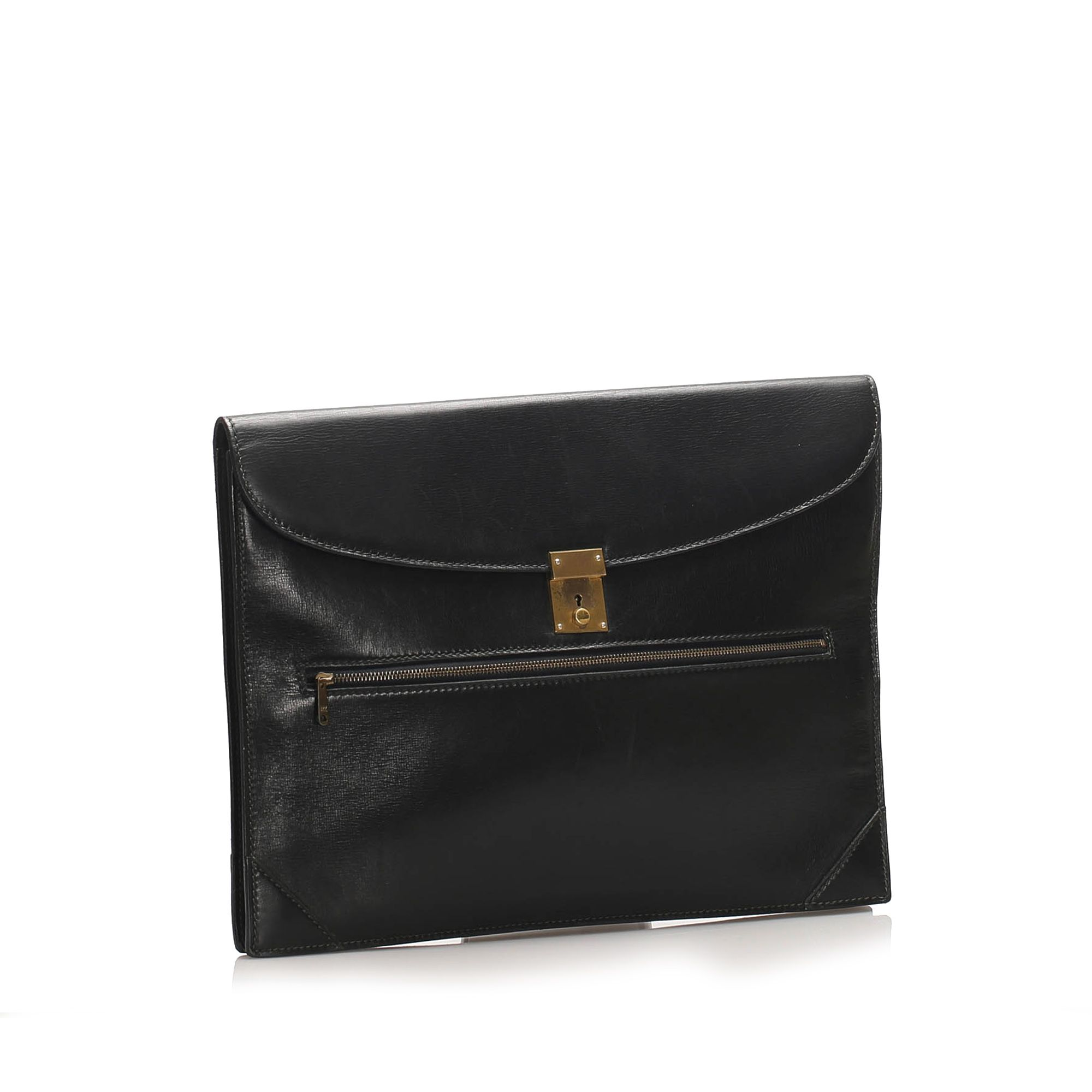 Vintage Gucci Leather Clutch Bag Black